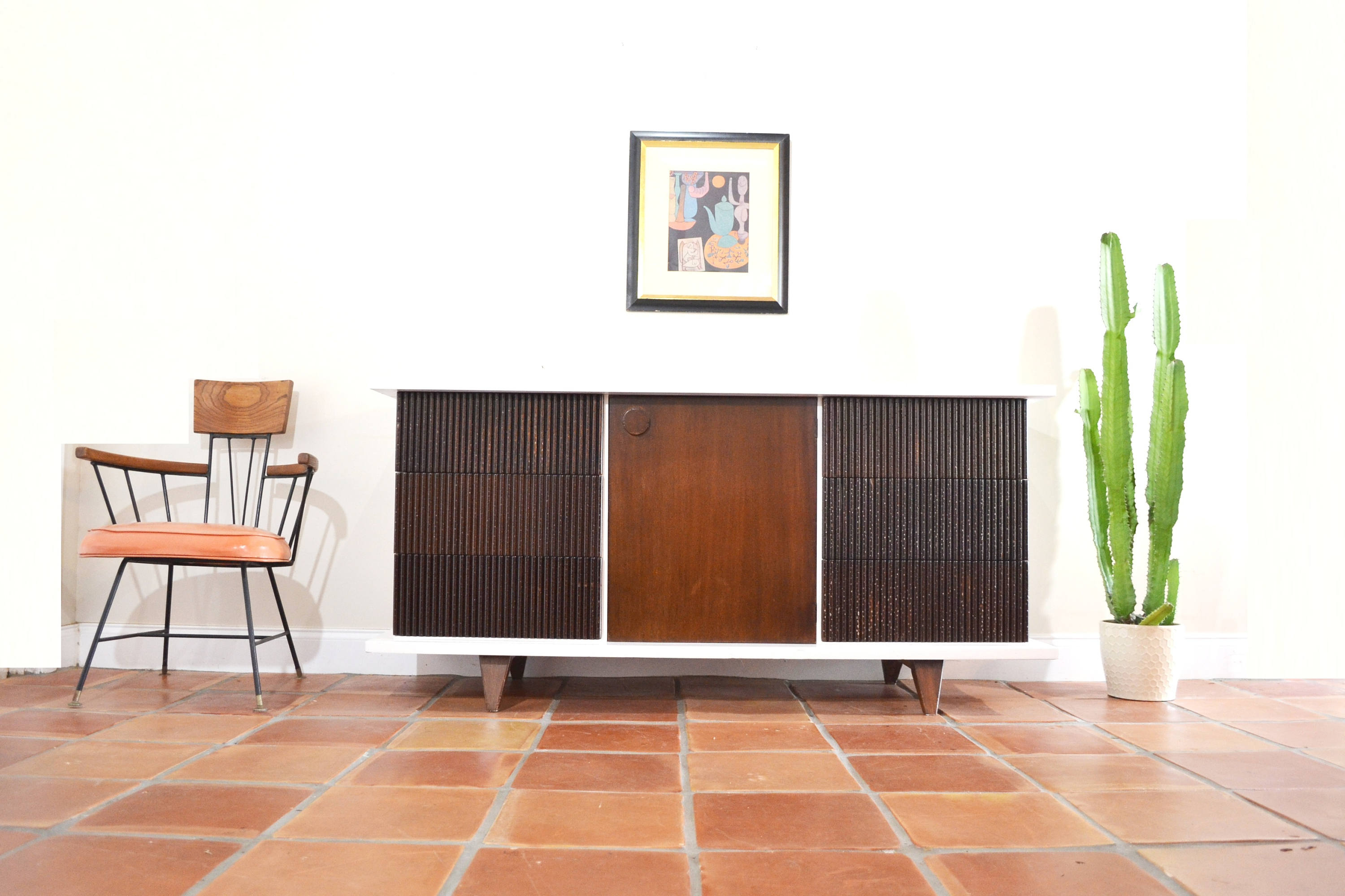 Mid Century Credenzaamerican Of Martinsville. Vintage Modern Buffet. White And Wood Refinished Dresser. 1950s 1960s (View 20 of 30)