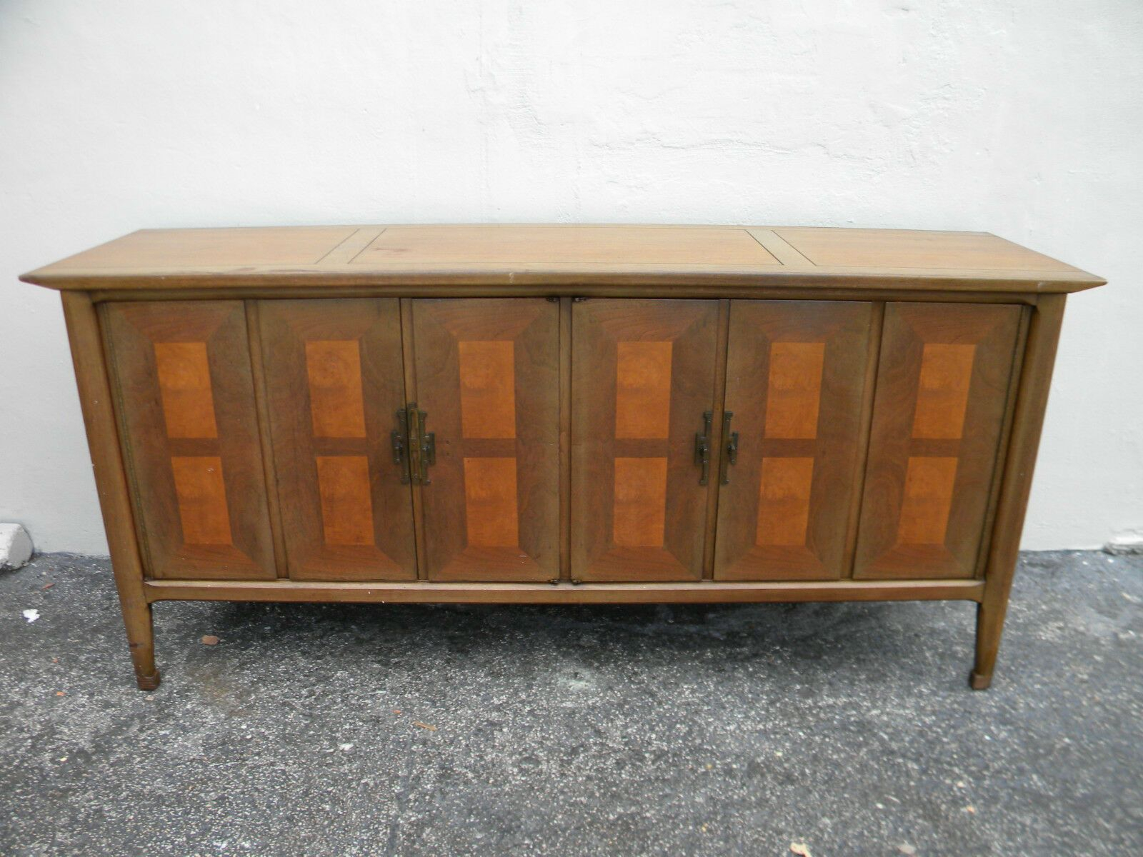 Mid Century Hollywood Regency Long Distressed Walnut Dresser For Steinhatchee Reclaimed Pine 4 Door Sideboards (View 19 of 30)