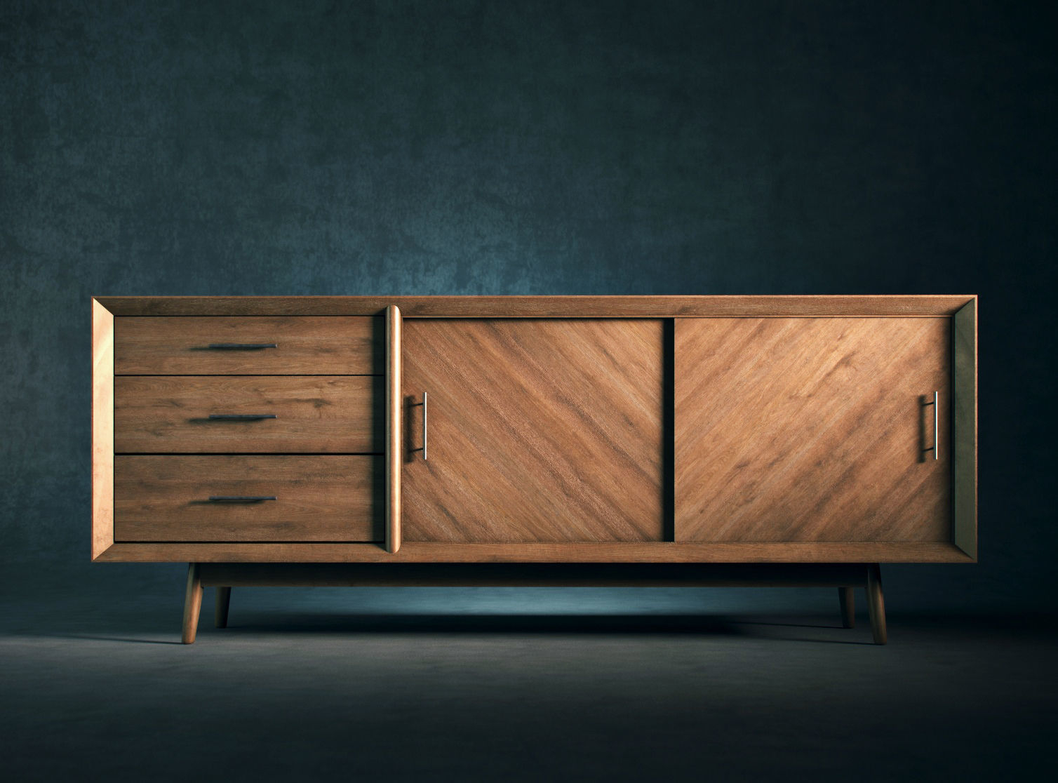 Mid Century Modern Buffet Console | 3d Model Pertaining To Modern Mid Century Buffets (View 2 of 30)