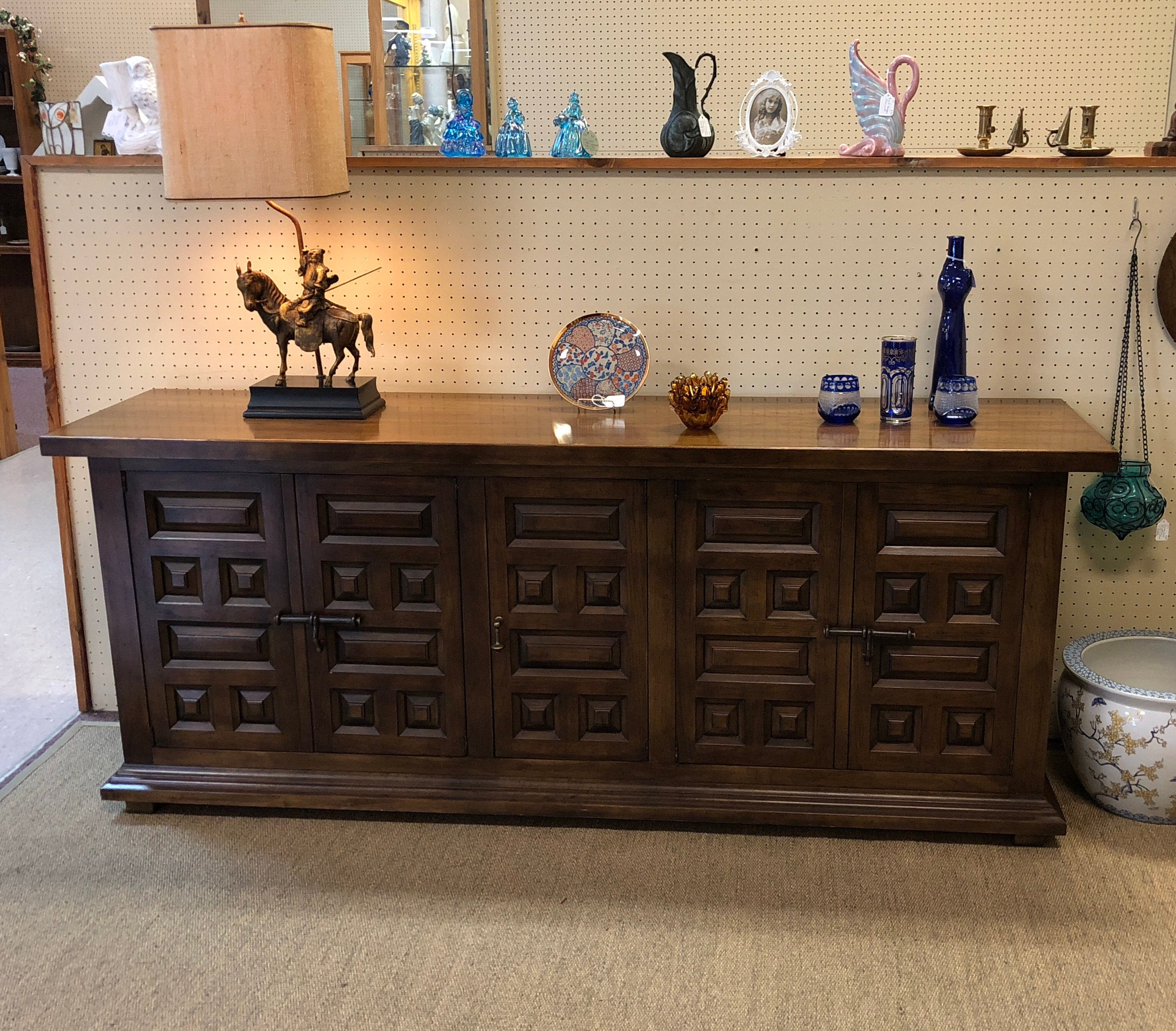 Mid Century Modern Drexel Solid Wood Long Buffet / Server Throughout Solid Wood Contemporary Sideboards Buffets (View 13 of 30)