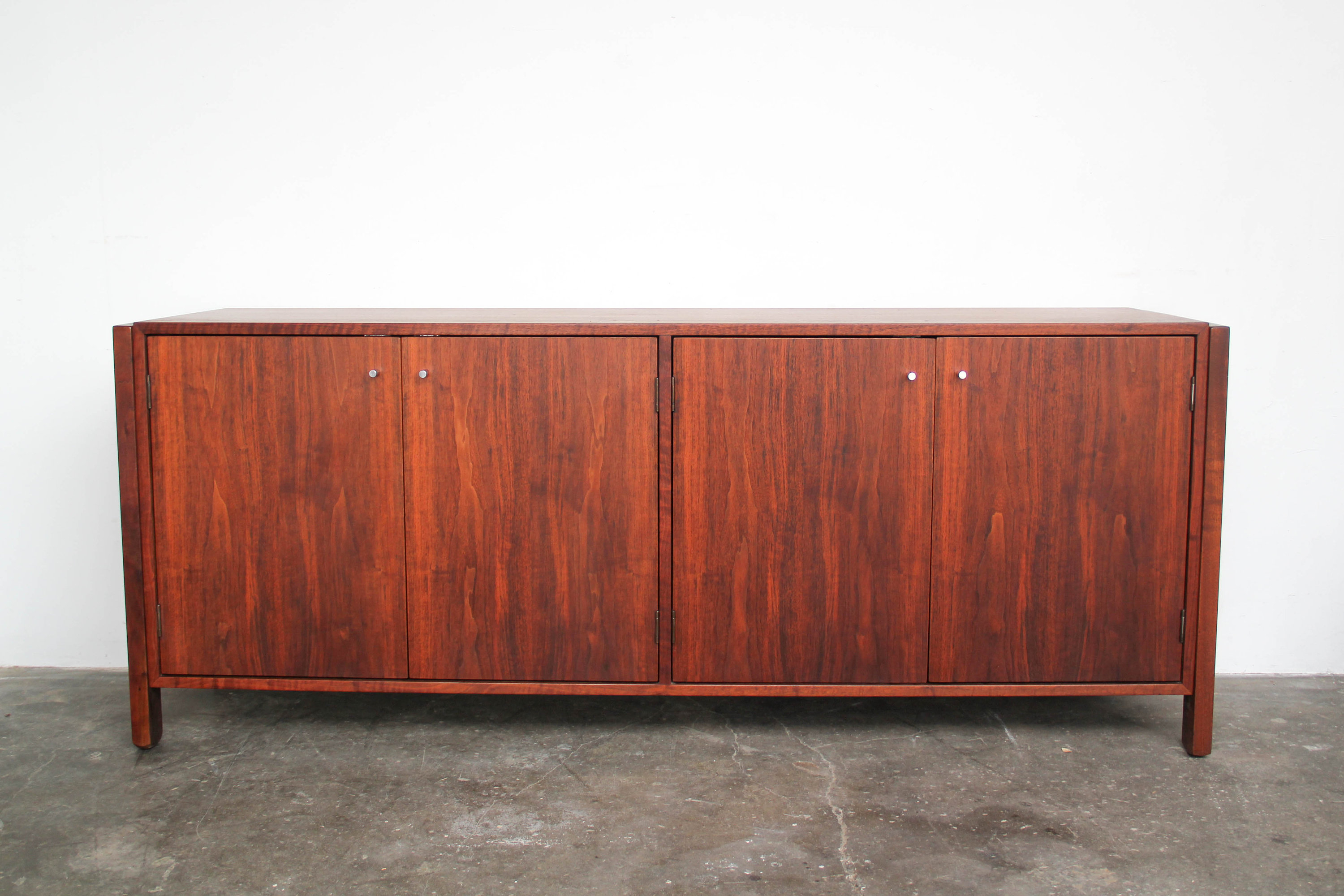 Mid Century Modern Walnut Wood Credenza With Chrome Pulls Vintage Throughout Southwest Pink Credenzas (View 23 of 30)