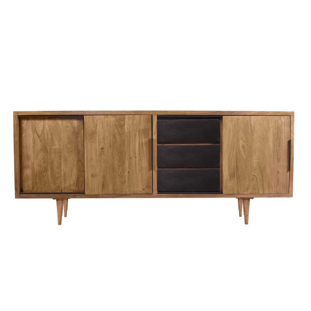 Mid Century Sideboard 180Cm Breit Acici Aus Massiver Akazie throughout Mid-Century Brown And Grey Sideboards (Image 18 of 30)