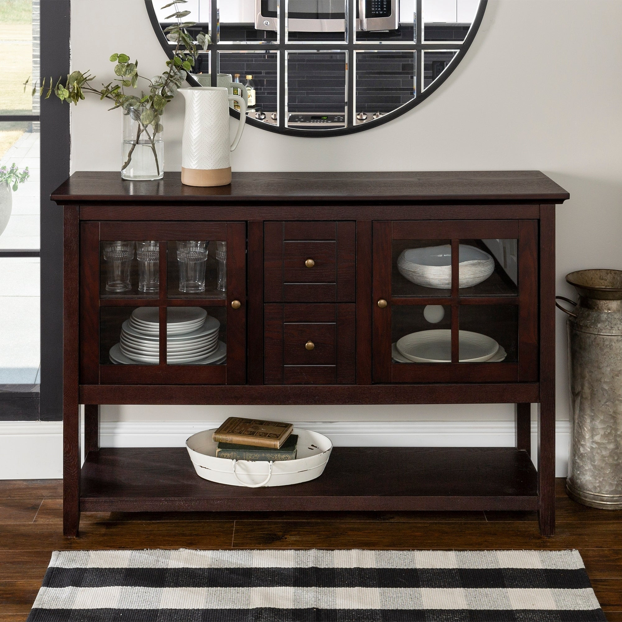 Middlebrook Designs 52 Inch Buffet Cabinet, Espresso, Tv Stand Console, Entertainment Center – 54 X 16 X 35H Pertaining To Contemporary Espresso 2 Cabinet Dining Buffets (View 23 of 30)