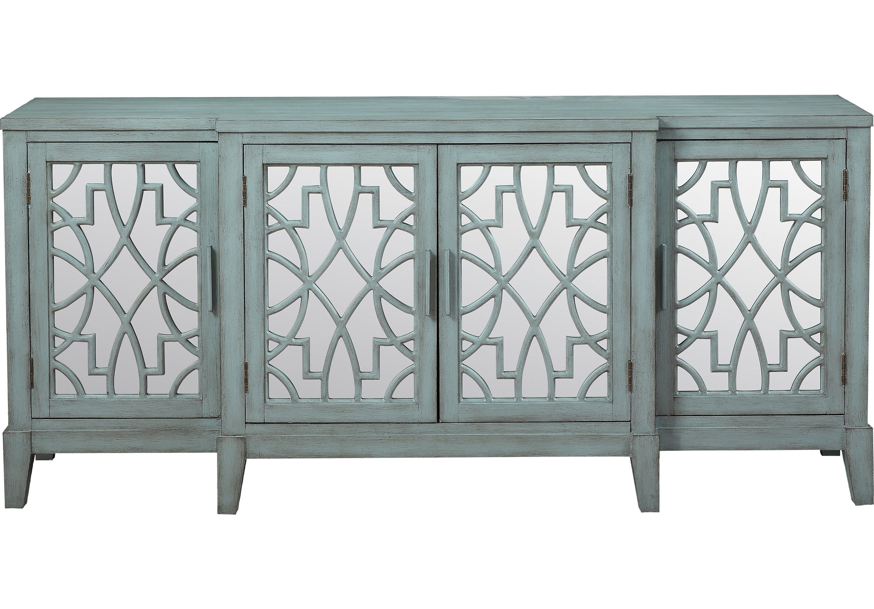 Minetta Teal 72 In. Credenza - Accent Cabinets Colors | Br inside Colorful Leaves Credenzas (Image 24 of 30)