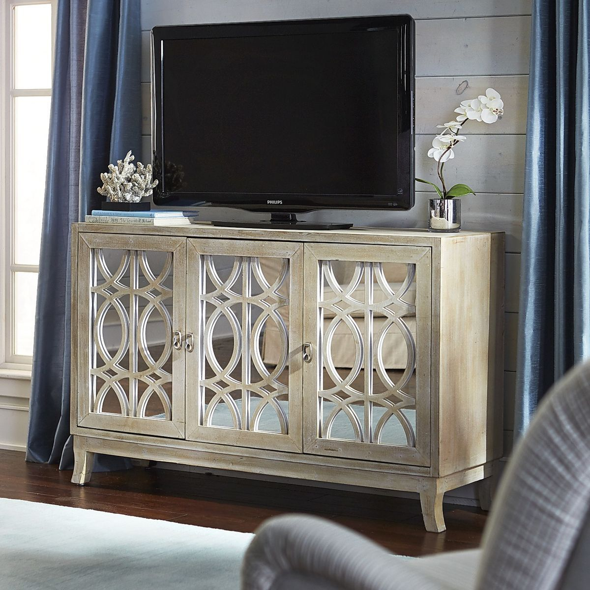 """Mirella Mirrored Natural 54"""" Tv Stand   Family Room Regarding Parmelee Tv Stands For Tvs Up To 65"""" (View 19 of 30)"""