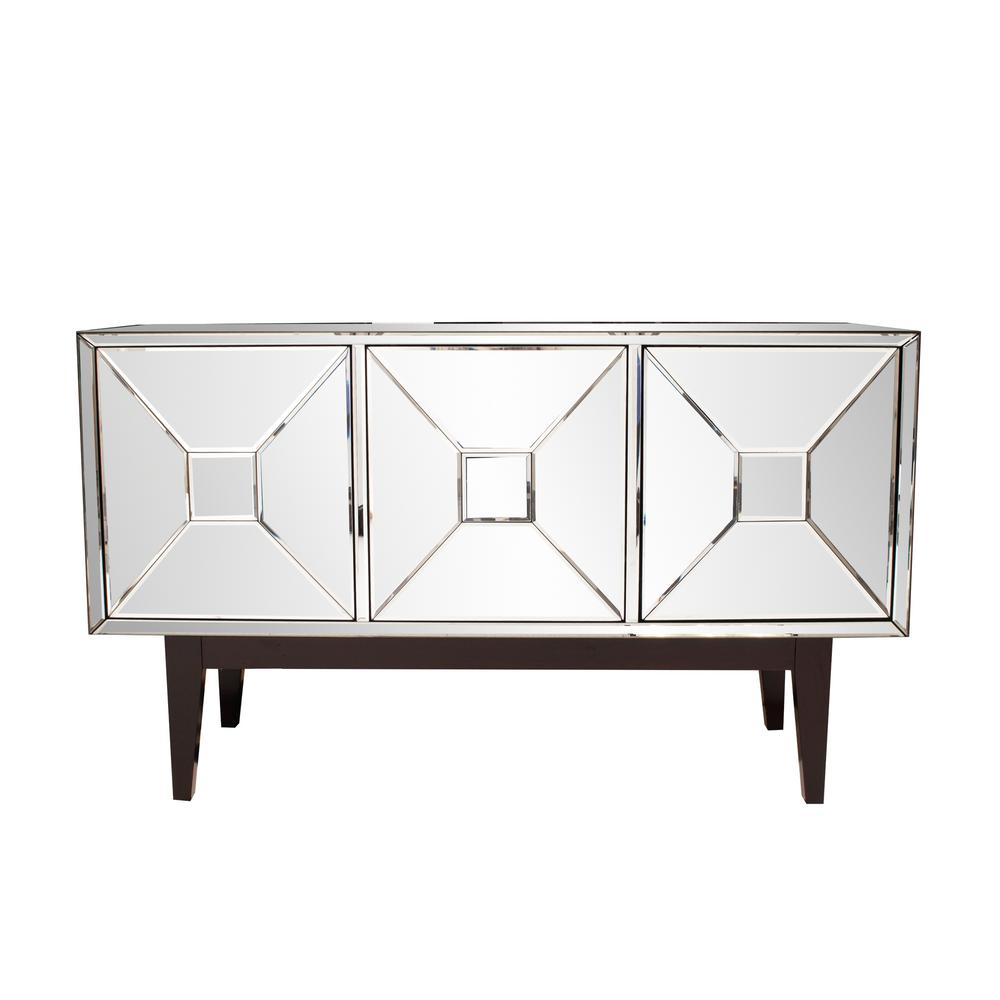 Mirrored Buffet Cabinet With Three Doors 68086 - The Home Depot throughout 3-Piece Mirrored Buffets (Image 17 of 30)