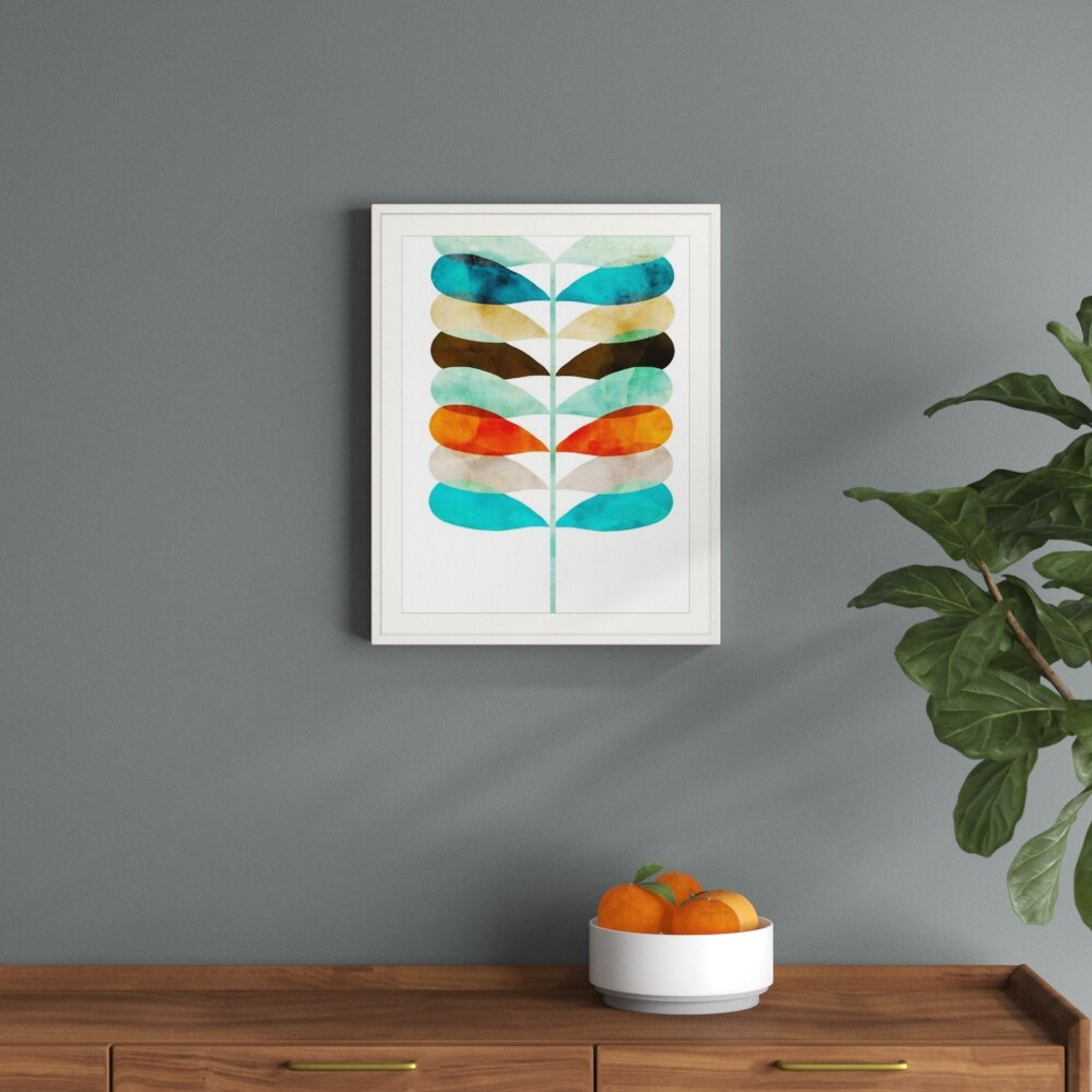 'mod Fern' Graphic Art Print with Deep Blue Fern Credenzas (Image 1 of 30)
