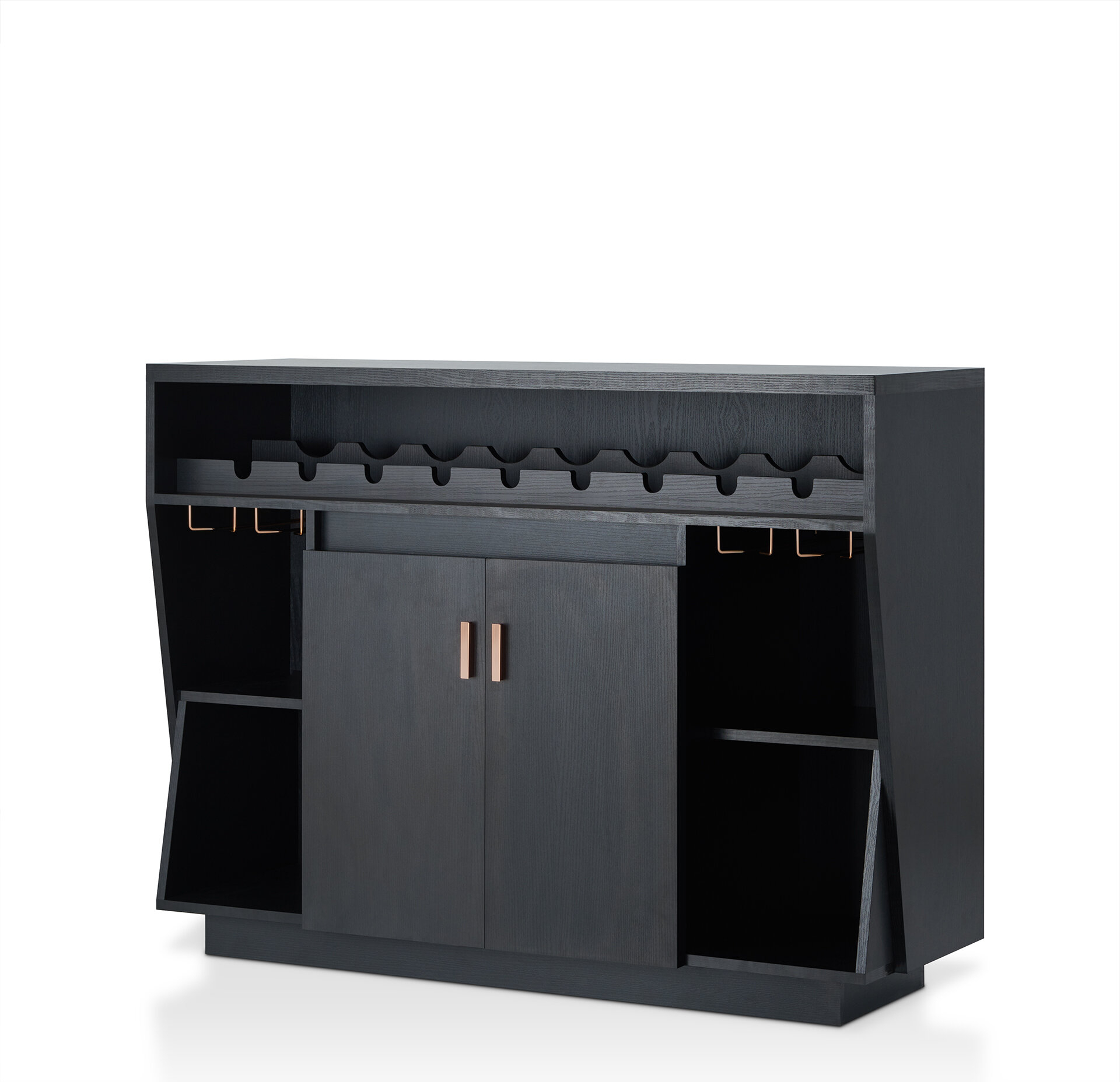 Modern Black Sideboards + Buffets | Allmodern Inside White Wood And Chrome Metal High Gloss Buffets (View 20 of 30)