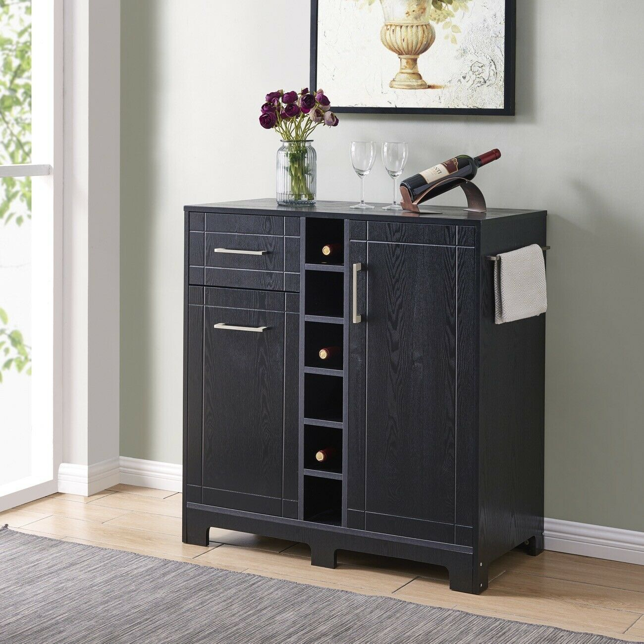 Modern Buffet Server Sideboard Bar Cabinet With Wine Storage And Racks,  Black With Regard To Modern Black Storage Buffets (View 4 of 30)