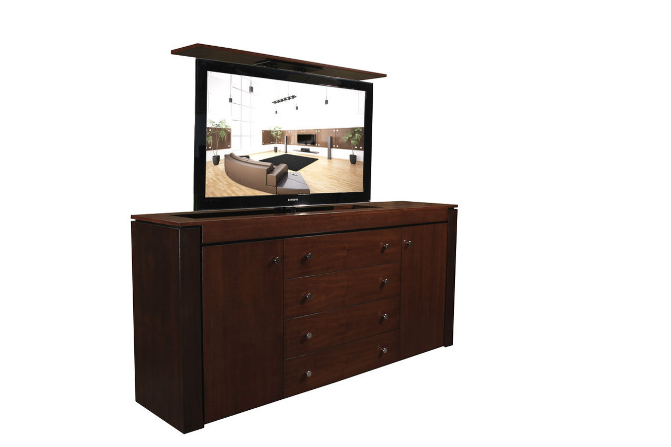 Modern Buffet Walnut Tv Lift Cabinet| Custom Made Tv Cabinets Within Contemporary Espresso 2 Cabinet Dining Buffets (View 25 of 30)