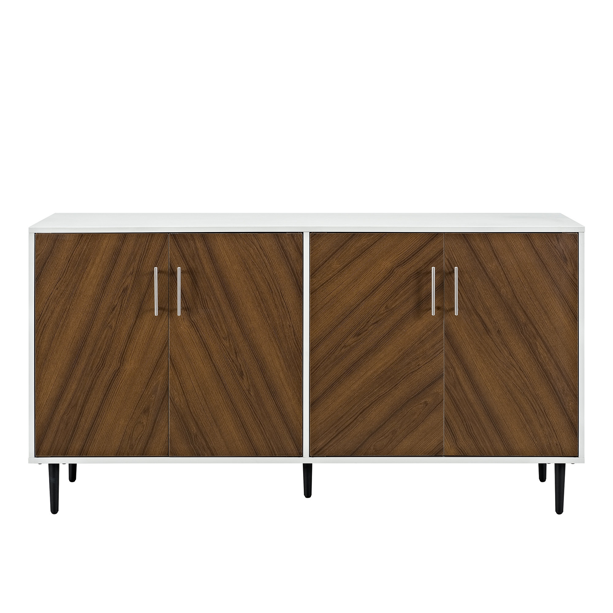 Modern & Contemporary Modern White Credenzas | Allmodern In Contemporary Wooden Buffets With One Side Door Storage Cabinets And Two Drawers (View 23 of 30)