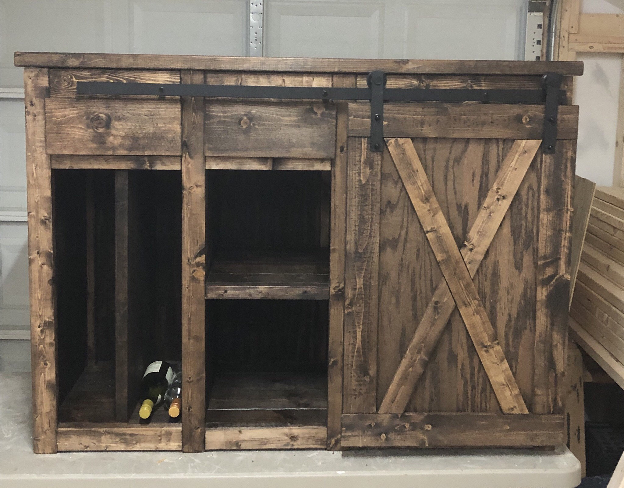 Modern Farmhouse Style Coffee Bar With 1 Barn Doors Slider And Drawer / Sideboard / Wine Bar / Buffet With Drawer / Mini Fridge Cabinet Intended For Contemporary Wine Bar Buffets (View 23 of 30)