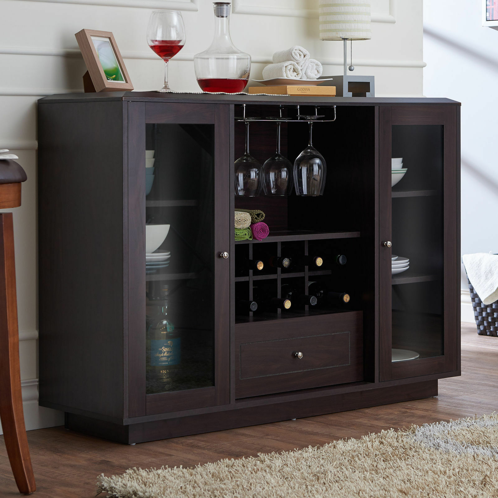 Modern Glass Doors Wine Rack Storage Buffet Dining Room Cabinet -Espresso  Finish throughout Modern Espresso Storage Buffets (Image 24 of 30)
