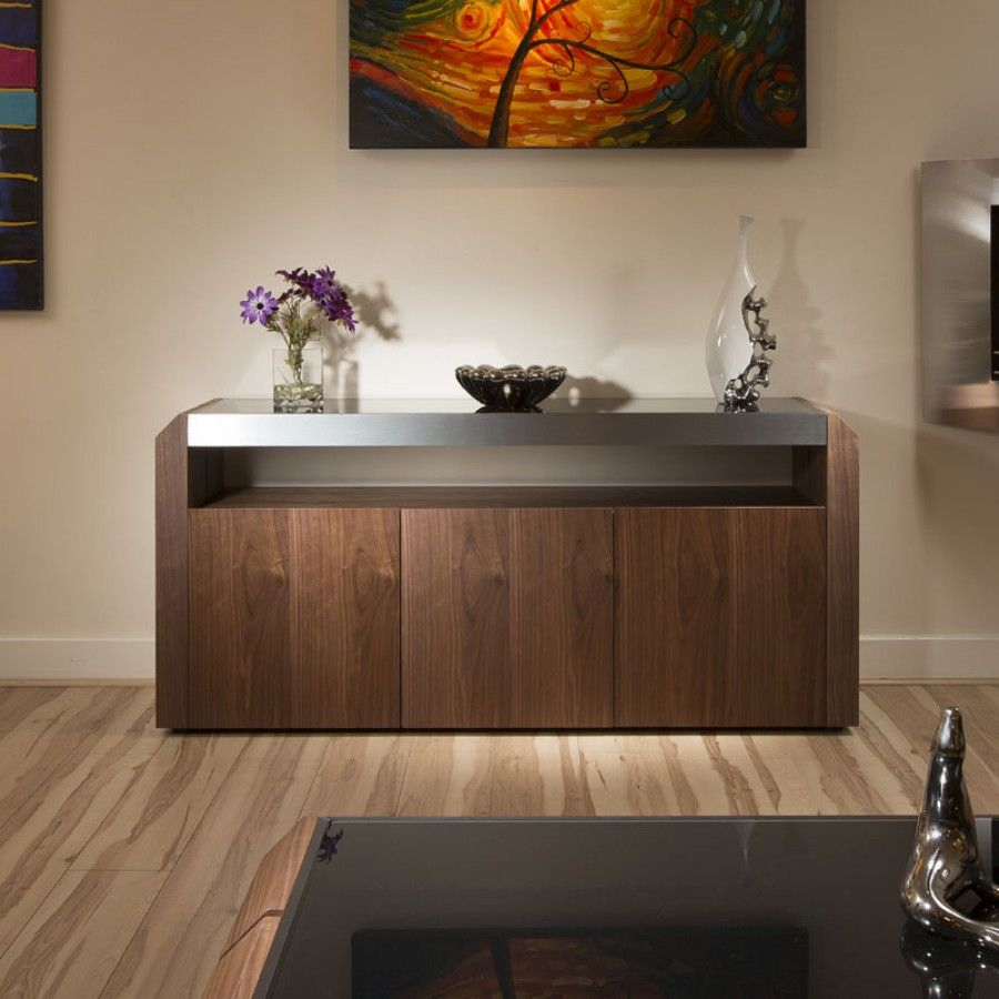 Modern Walnut Sideboard Cabinet Buffet Black Glass Top (View 22 of 30)