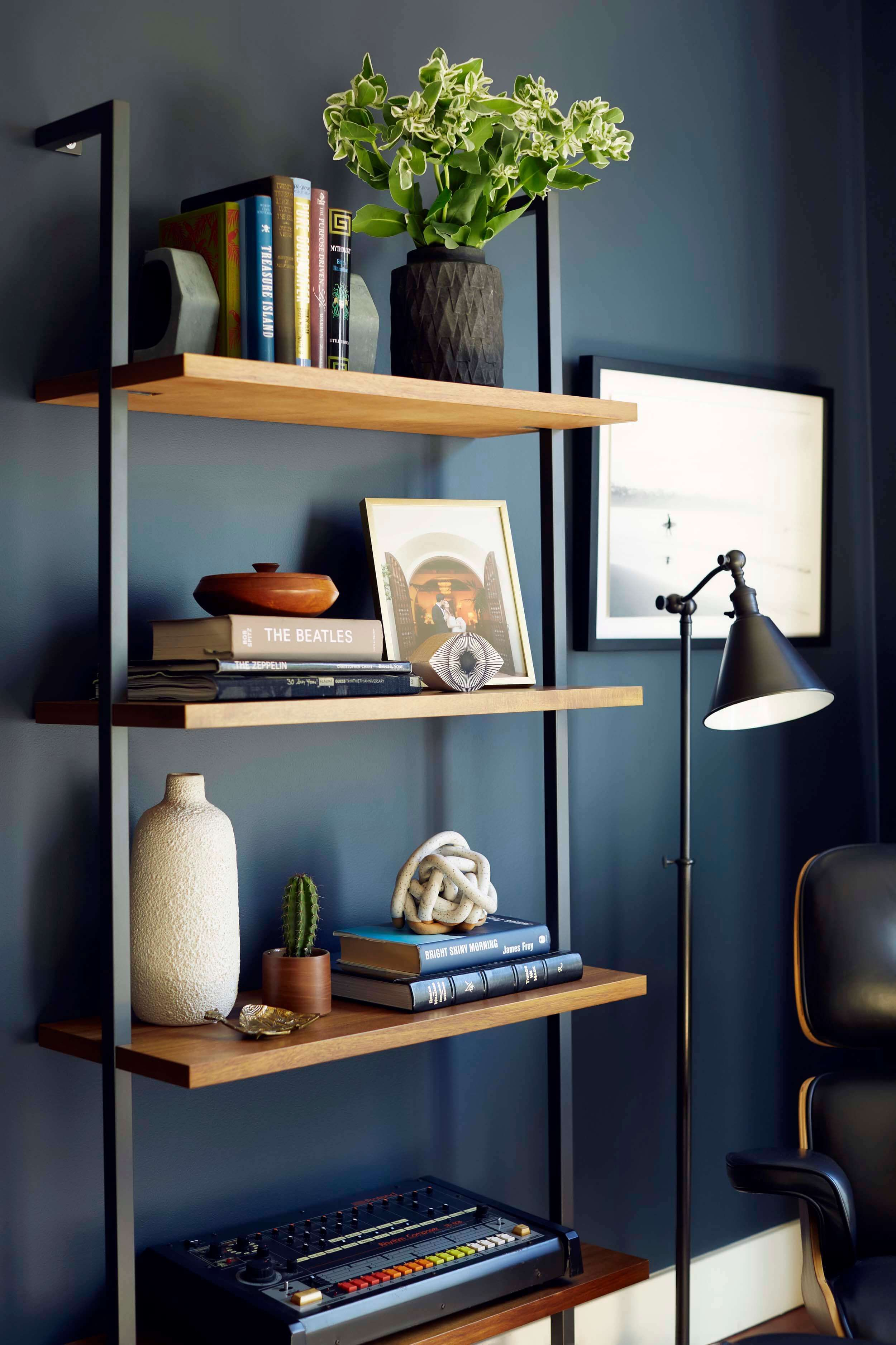 Moody Mid Century Home Office + Shop The Look | House | Home with regard to Deep Blue Fern Credenzas (Image 18 of 30)