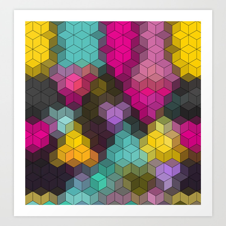 Multi-Colored Geometric Shapes Art Print pertaining to Multi Colored Geometric Shapes Credenzas (Image 25 of 30)