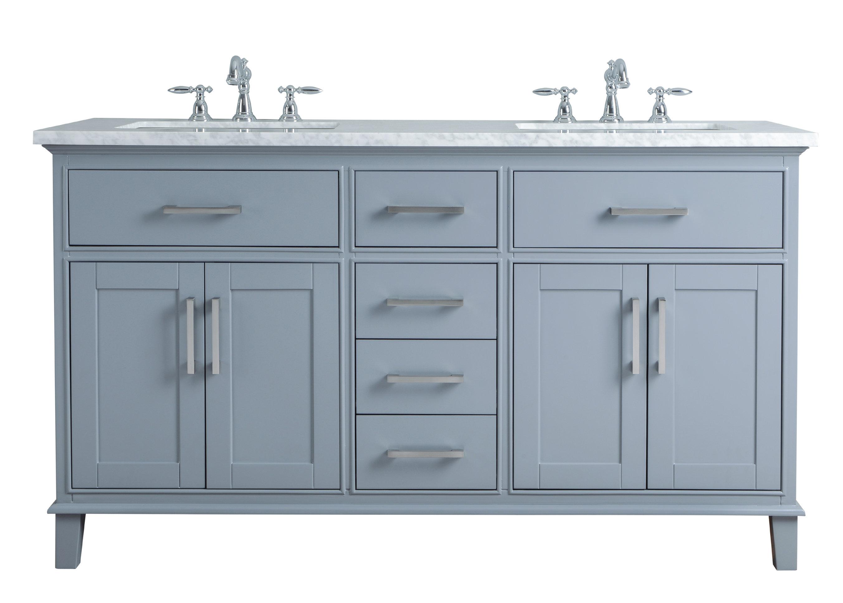 """Mundy 60"""" Double Bathroom Vanity Set in Arminta Wood Sideboards (Image 18 of 30)"""