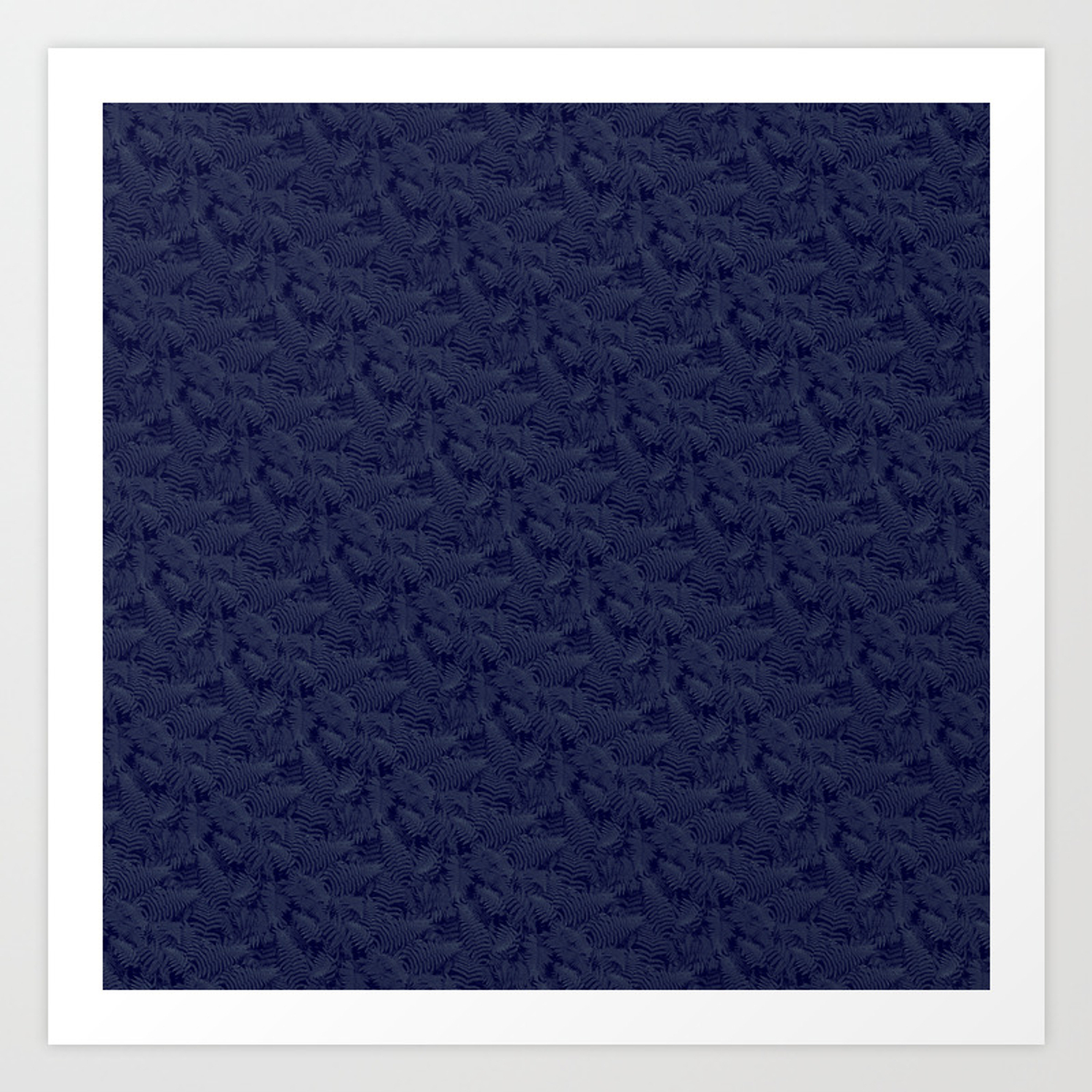 Muted '90S Fern Background Grid At Dusk – Deep Blue Art Print with regard to Deep Blue Fern Credenzas (Image 19 of 30)