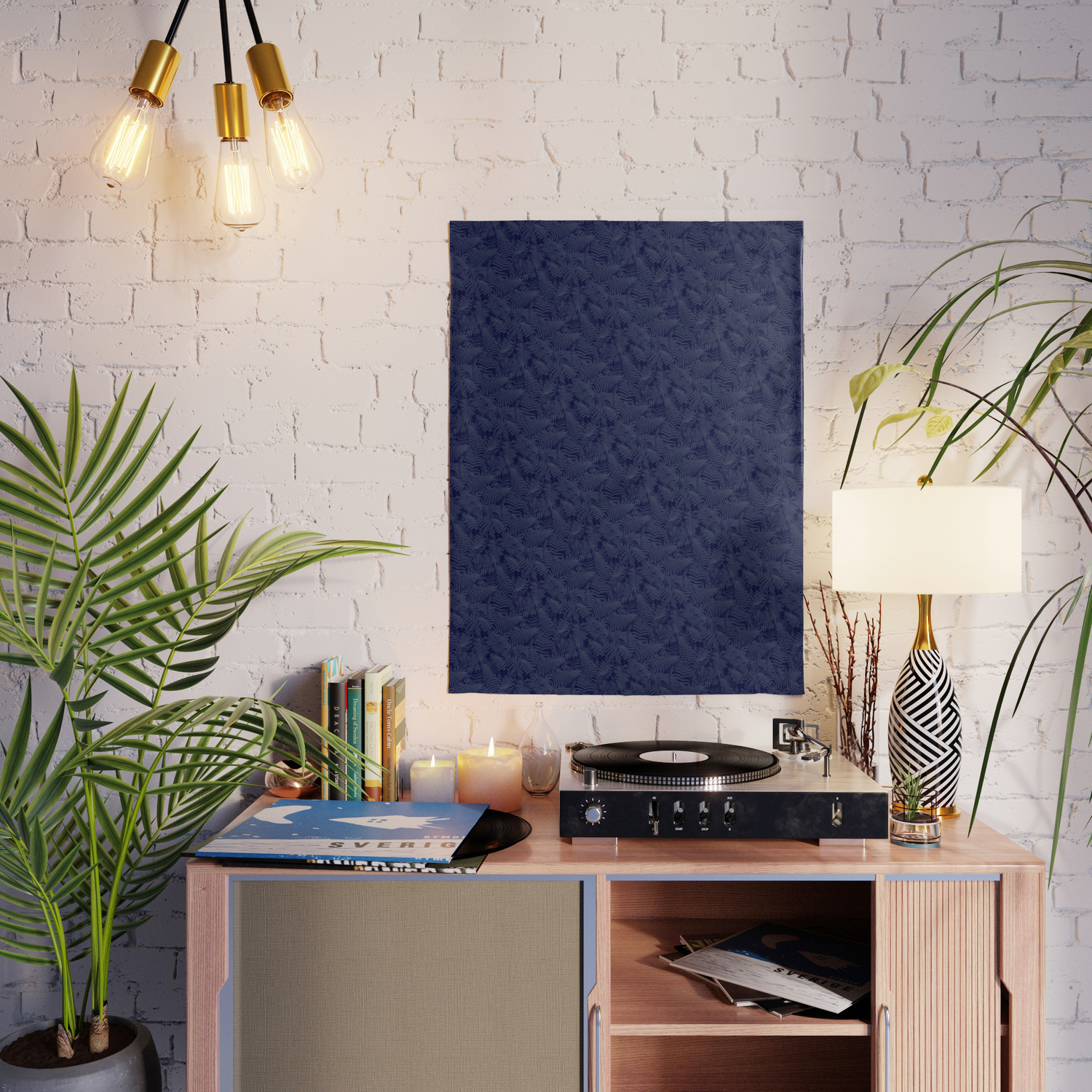 Muted '90S Fern Background Grid At Dusk – Deep Blue Posterwilliambottini for Deep Blue Fern Credenzas (Image 24 of 30)