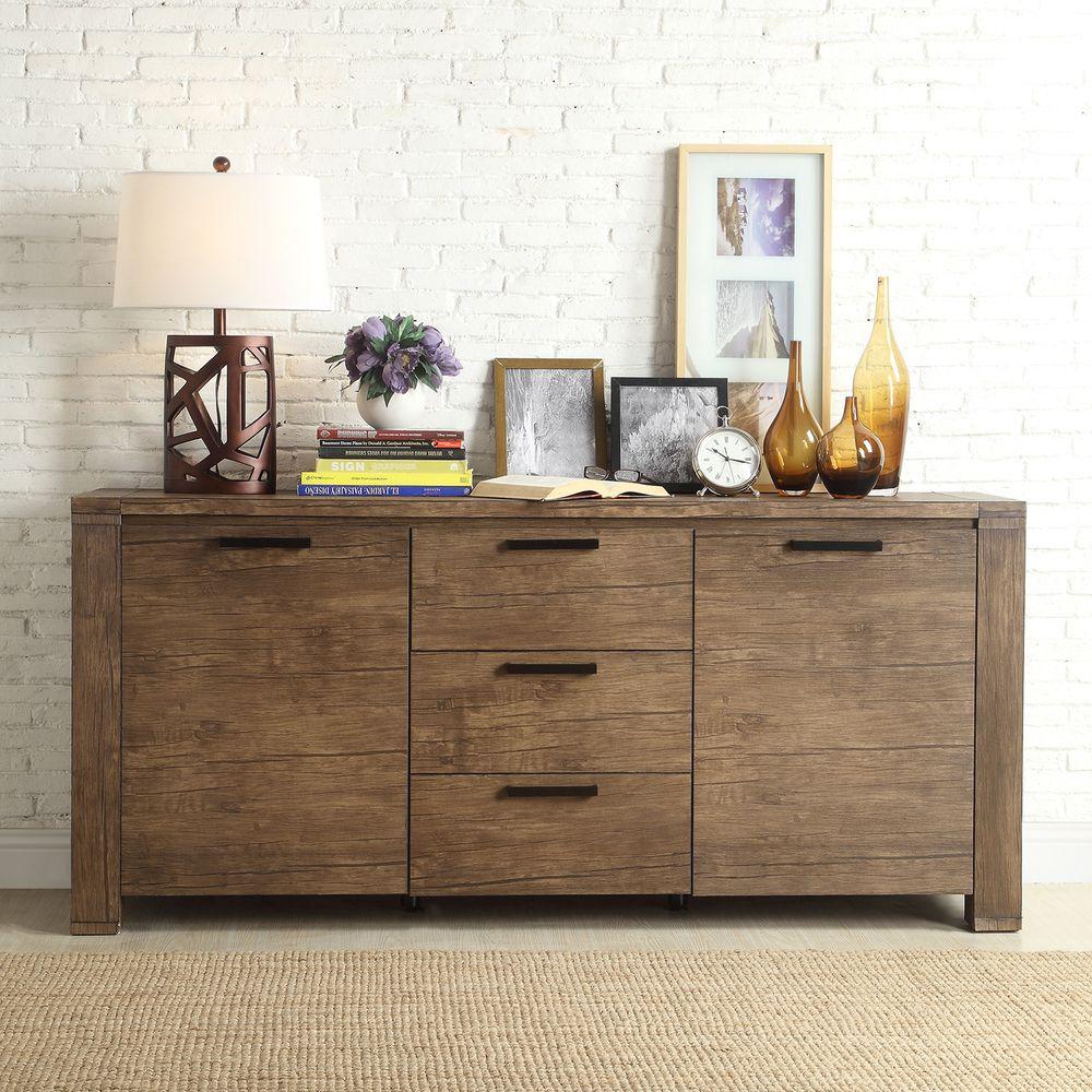 Myra Ii Modern Rustic Walnut Driftwood Buffet | Overstock Intended For Rustic Walnut Buffets (View 8 of 30)