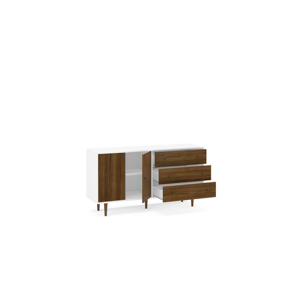 Naples White And Dark Brown Sideboard 1802750001 – The Home For Contemporary Wooden Buffets With Four Open Compartments And Metal Tapered Legs (View 22 of 30)