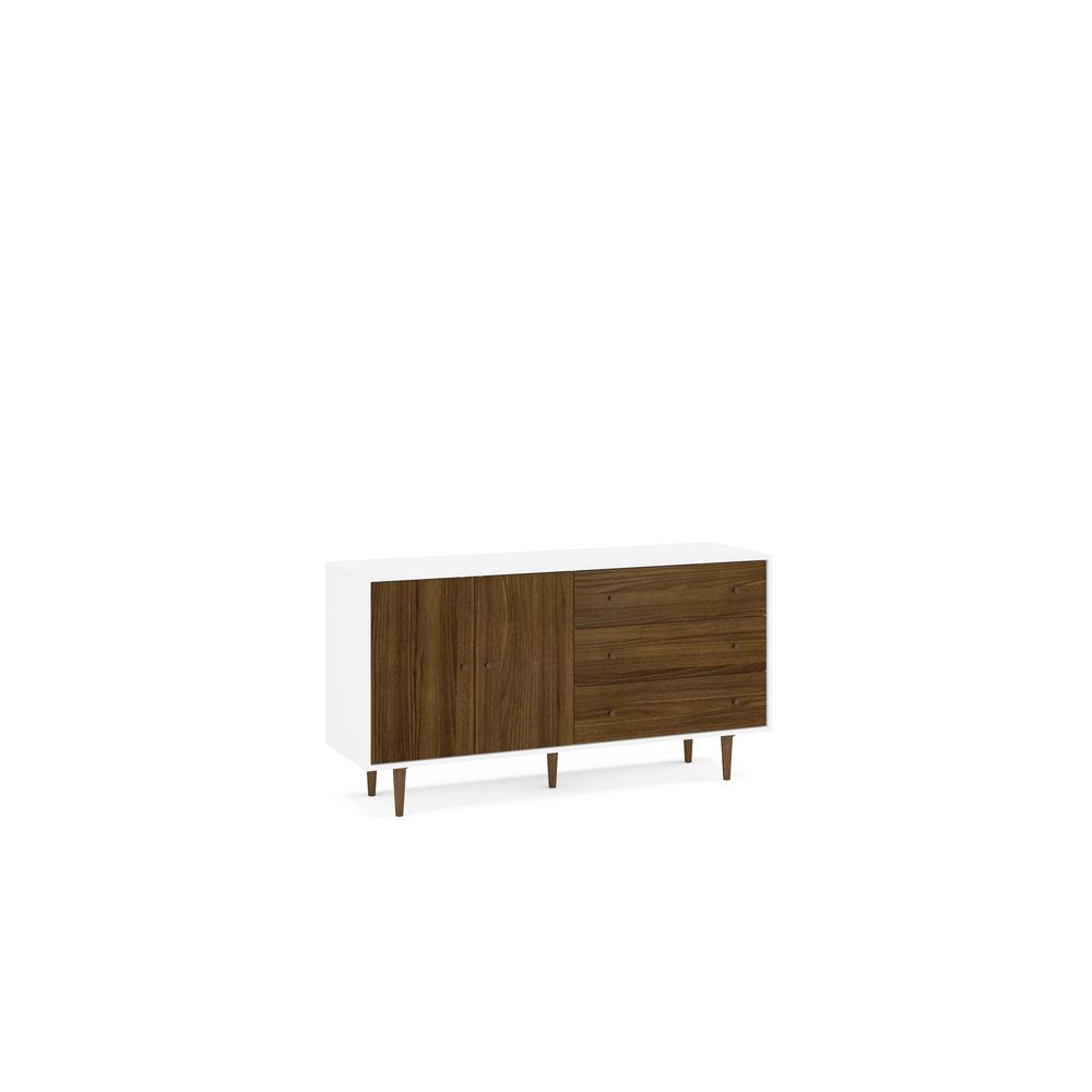 Naples White And Dark Brown Sideboard 1802750001 – The Home With Contemporary Wooden Buffets With Four Open Compartments And Metal Tapered Legs (View 23 of 30)