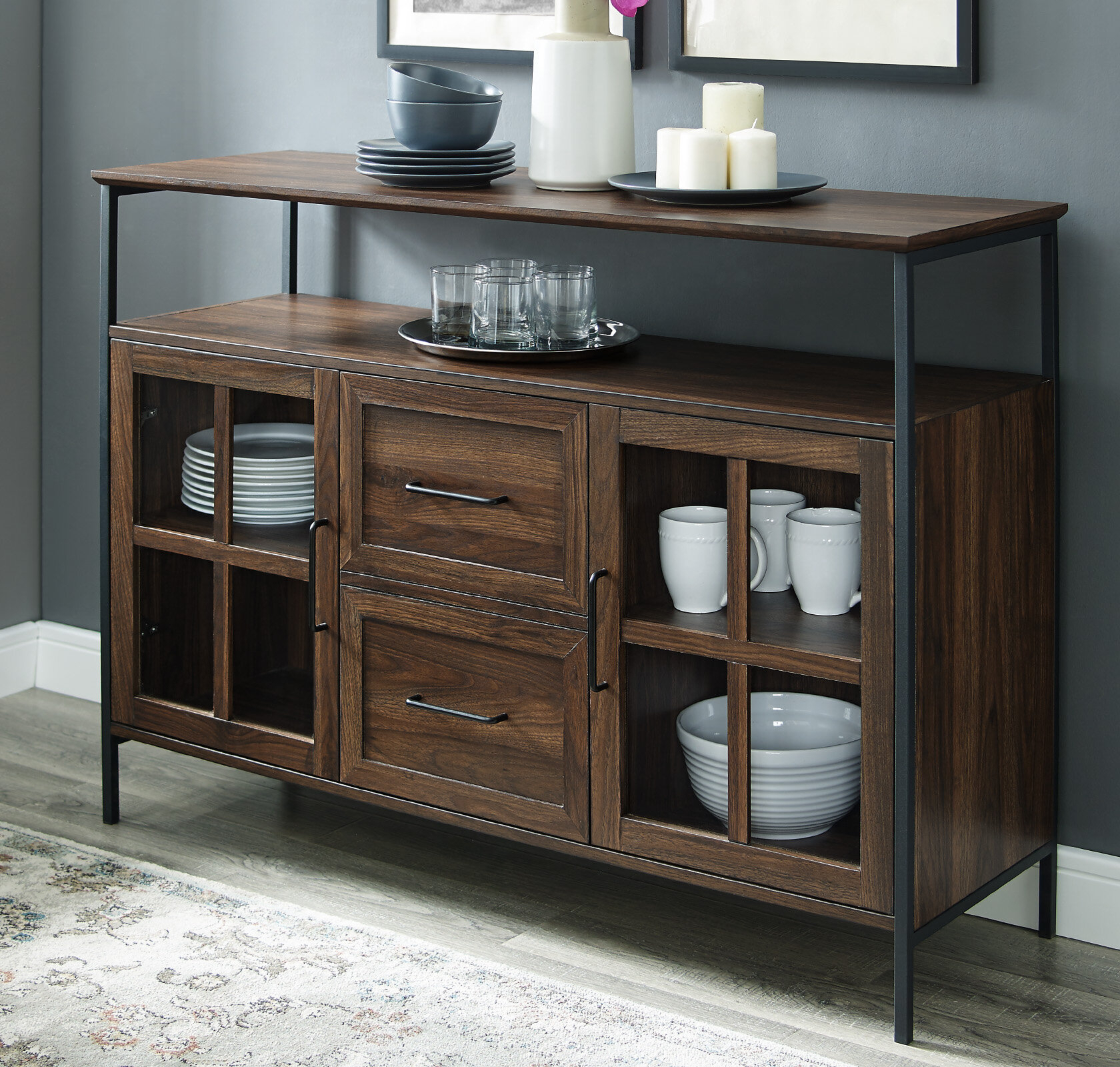 Narrow Buffet Table | Wayfair Regarding Contemporary Wooden Buffets With Four Open Compartments And Metal Tapered Legs (View 24 of 30)