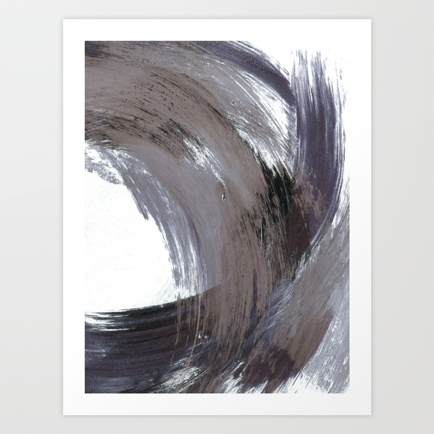 Navy Blue And Grey Minimalist Abstract Brushstroke Painting Art Print Throughout Strokes And Waves Credenzas (View 21 of 30)