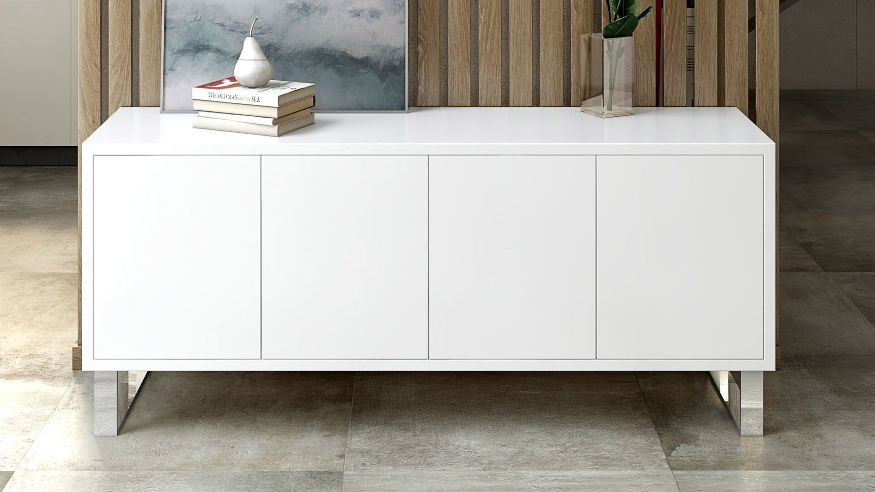 Neve Sideboard Throughout White Wood And Chrome Metal High Gloss Buffets (View 6 of 30)