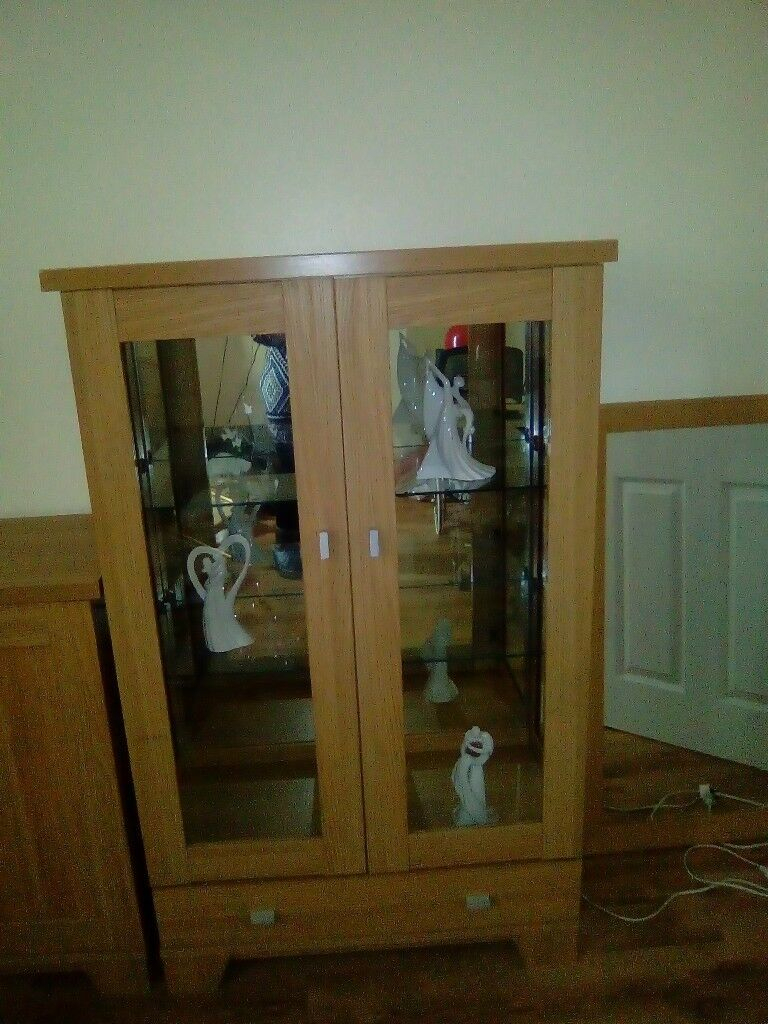 Oak Laminite Matching Sideboard Glass Cabinet And Mirror | In Tredegar, Blaenau Gwent | Gumtree Within Upper Stanton Sideboards (View 23 of 30)