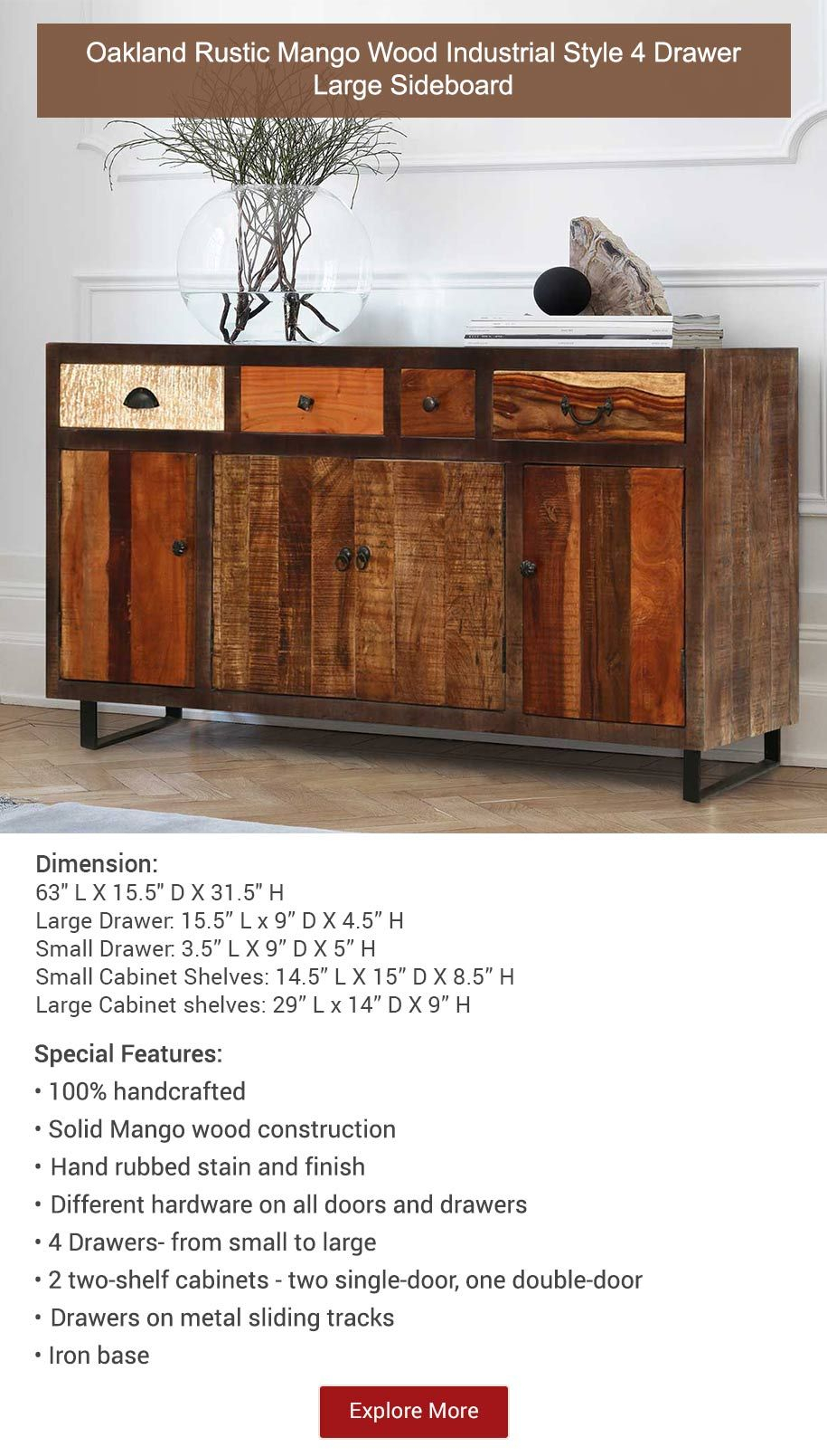 Oakland Rustic Mango Wood 4 Drawer Large Sideboard | Buffets intended for Industrial Style 3-Drawer Buffets (Image 24 of 30)