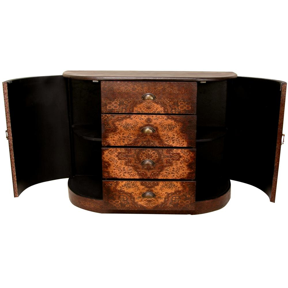 Oriental Furniture Antique Brown Olde Worlde European Credenza Cabinet Throughout Lovely Floral Credenzas (View 20 of 30)