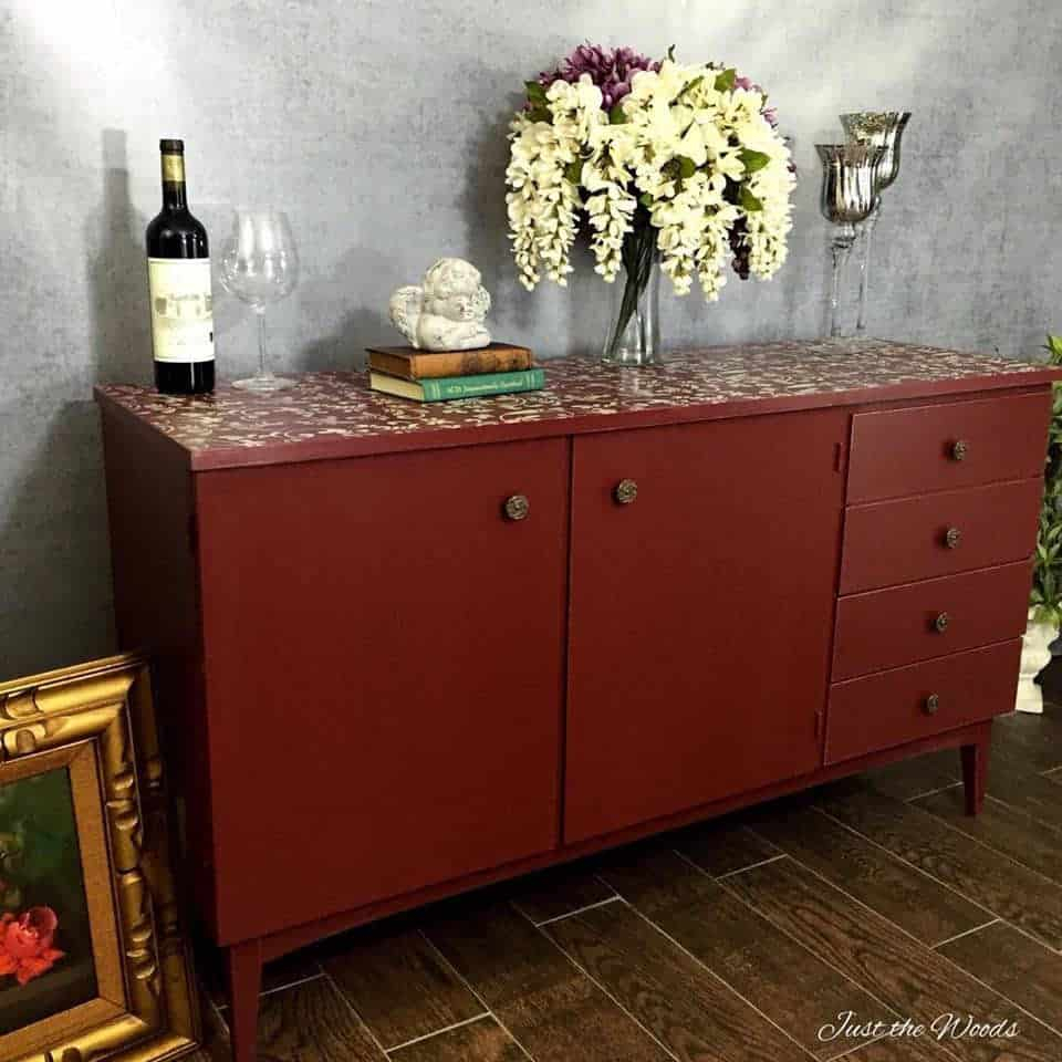 Painted Cranberry Credenza With Floral Stencil Top In Lovely Floral Credenzas (View 13 of 30)