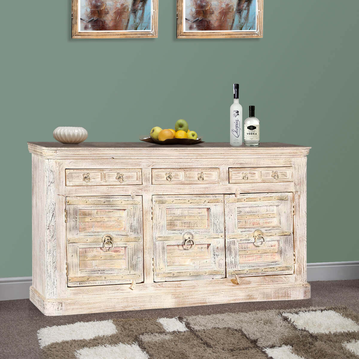 Palazzo 74Quot Rustic Furniture White 3 Drawer Buffet Bar throughout 3-Drawer Storage Buffets (Image 20 of 30)
