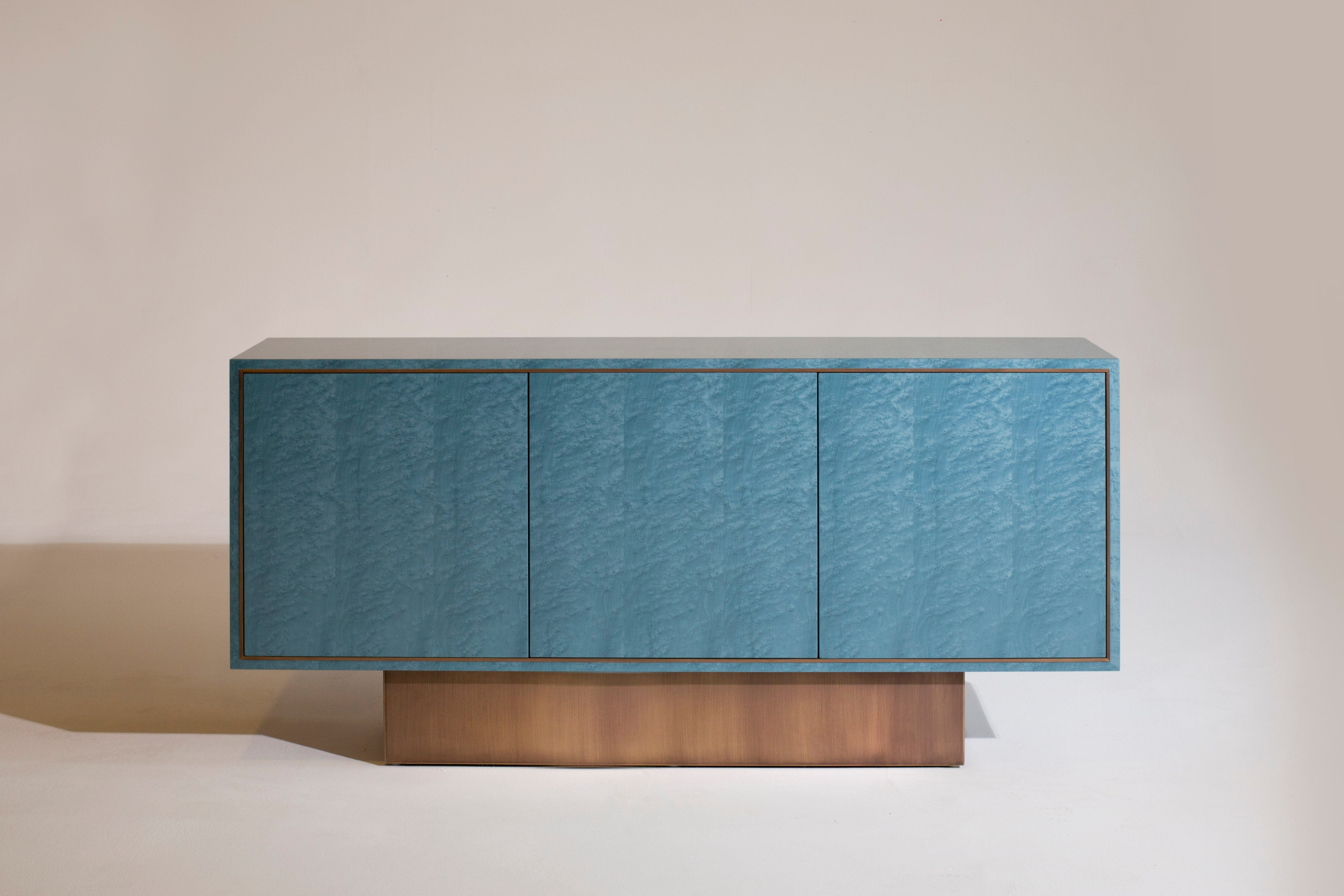 Palisades Side Cabinet, 1970S Inspired, In Bird's Eye Maple And Antiqued Brass Inside Palisade Sideboards (View 25 of 30)