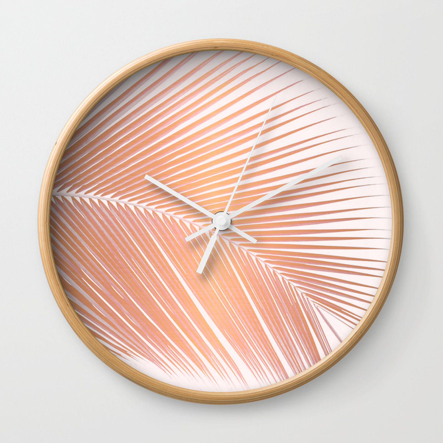 Palm Leaf – Copper Pink Wall Clock For Copper Leaf Wood Credenzas (View 25 of 30)