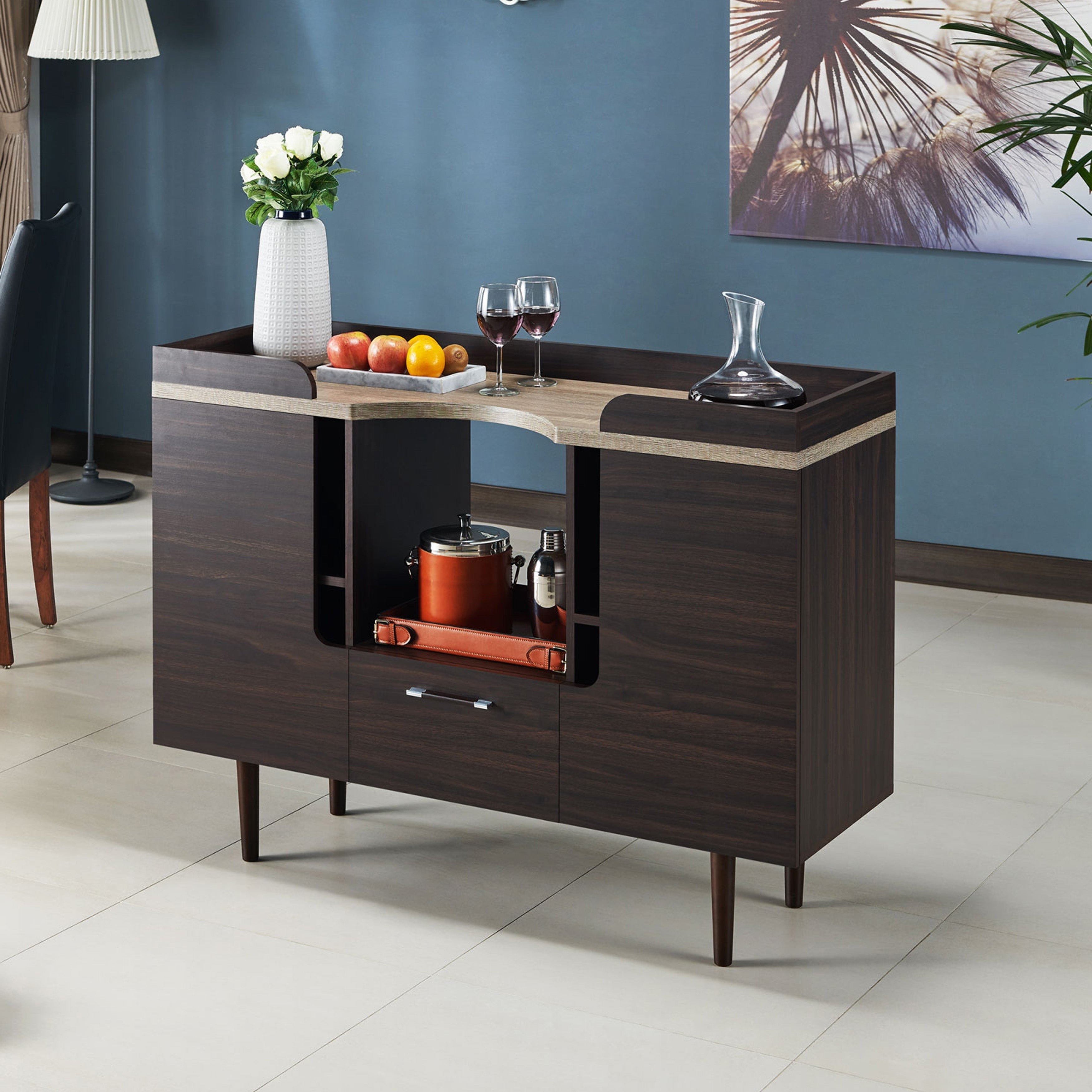 Pattermon Mid Century Modern Two Tone Wenge Buffet Serverfoa With Regard To Modern Mid Century Buffets (View 9 of 30)