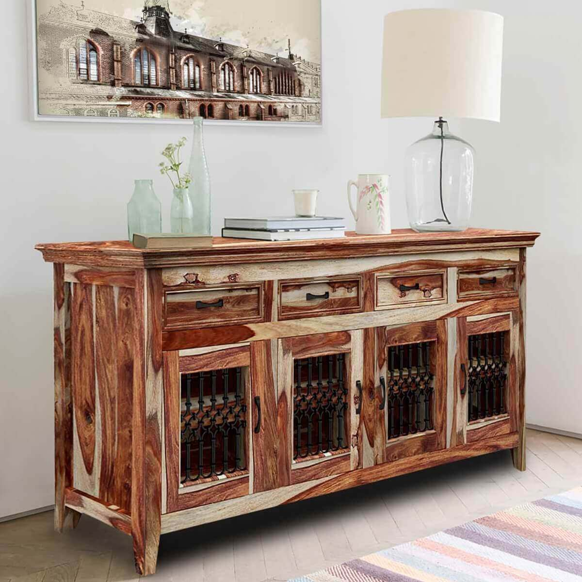 Peoria Modern Rustic Solid Wood 4 Door 4 Drawer Large Buffet Cabinet For Solid Wood Contemporary Sideboards Buffets (View 15 of 30)