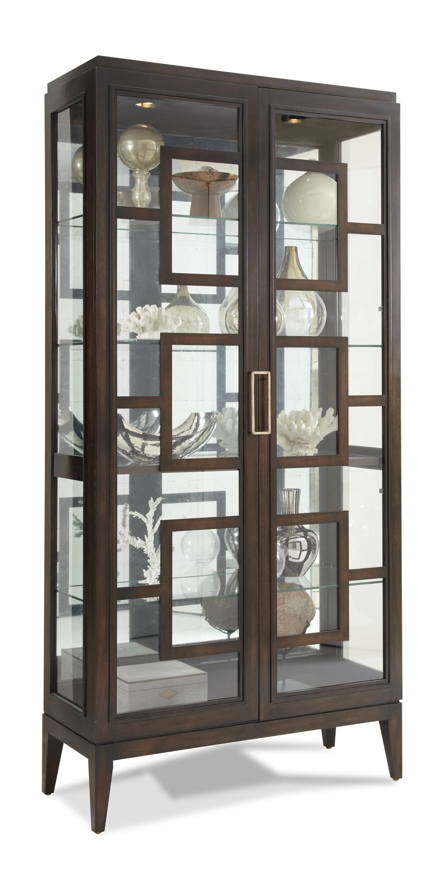Pick Your Own Finish Hickory White – 440 41 Rhodes Curio Inside Contemporary Style Wooden Buffets With Two Side Door Storage Cabinets (View 21 of 30)