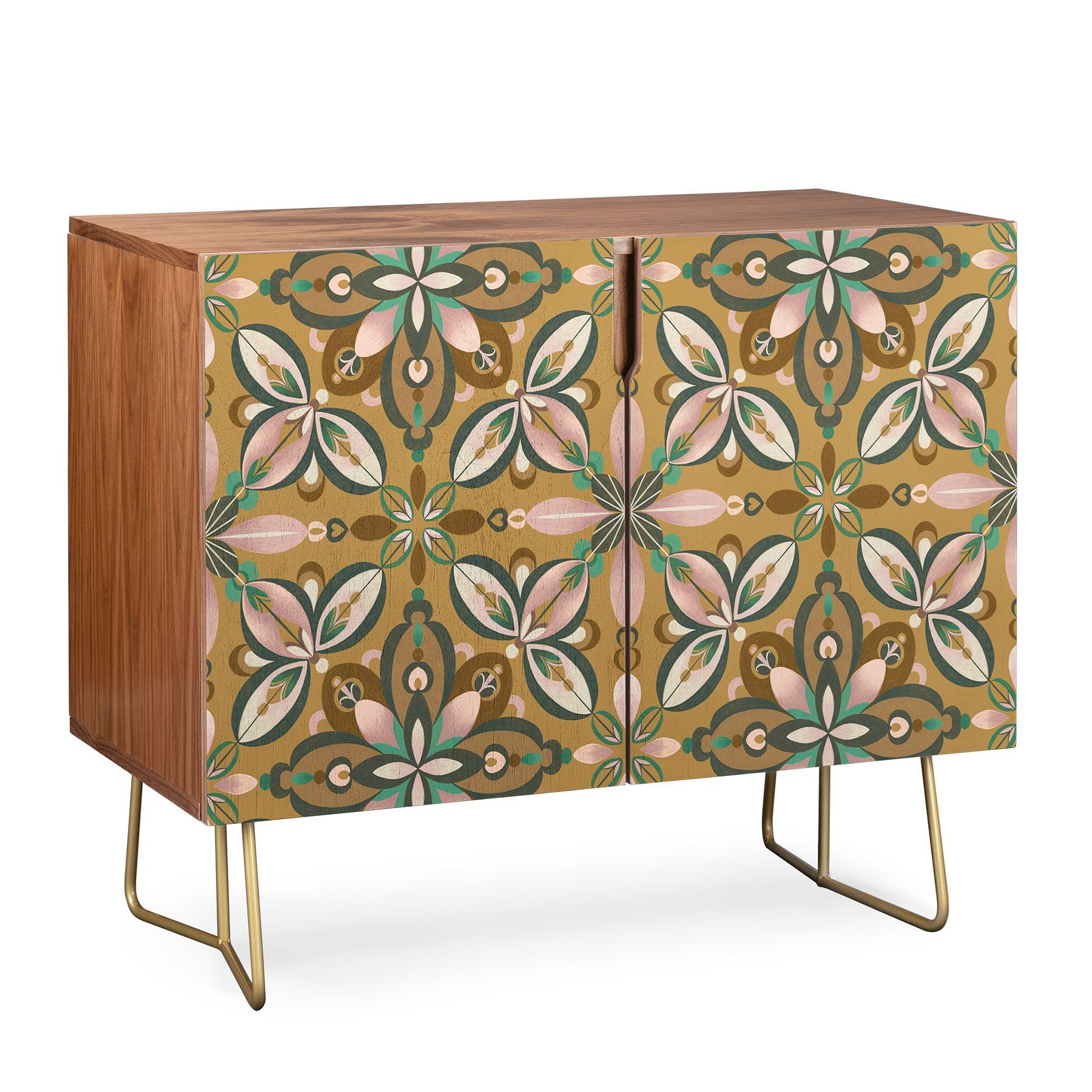 Pimlada Phuapradit Floral Tile In Yellow Ochre Credenza In Inside Lovely Floral Credenzas (View 6 of 30)
