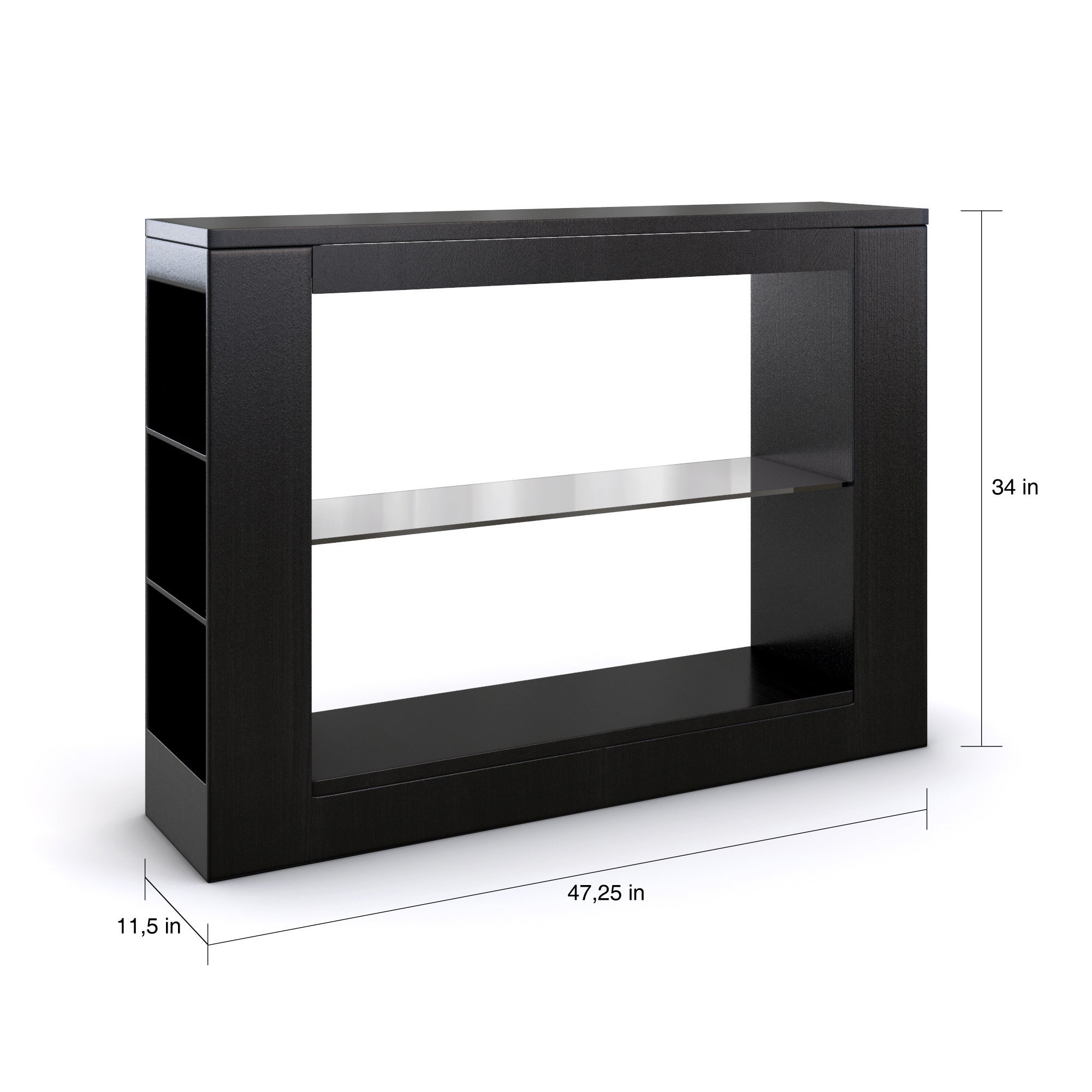 Porch & Den Brent Black Multi Storage Tempered Glass Dining Buffet Table Inside Contemporary Three Tier Glass Buffets With Black Metal Frame (View 22 of 30)