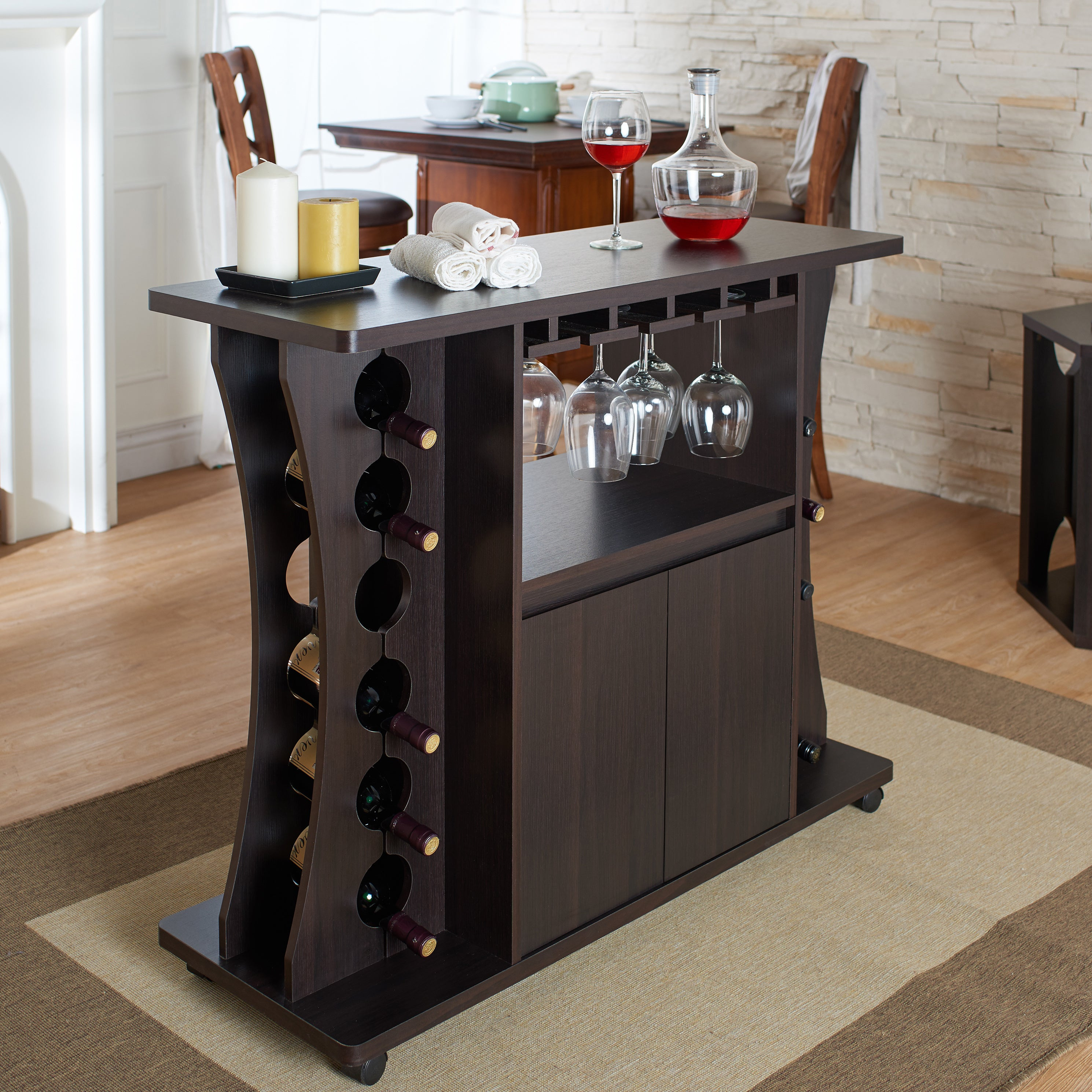 Porch & Den Northlawn Espresso Buffet With Wine Rack For Espresso Wood Multi Use Buffets (View 2 of 30)
