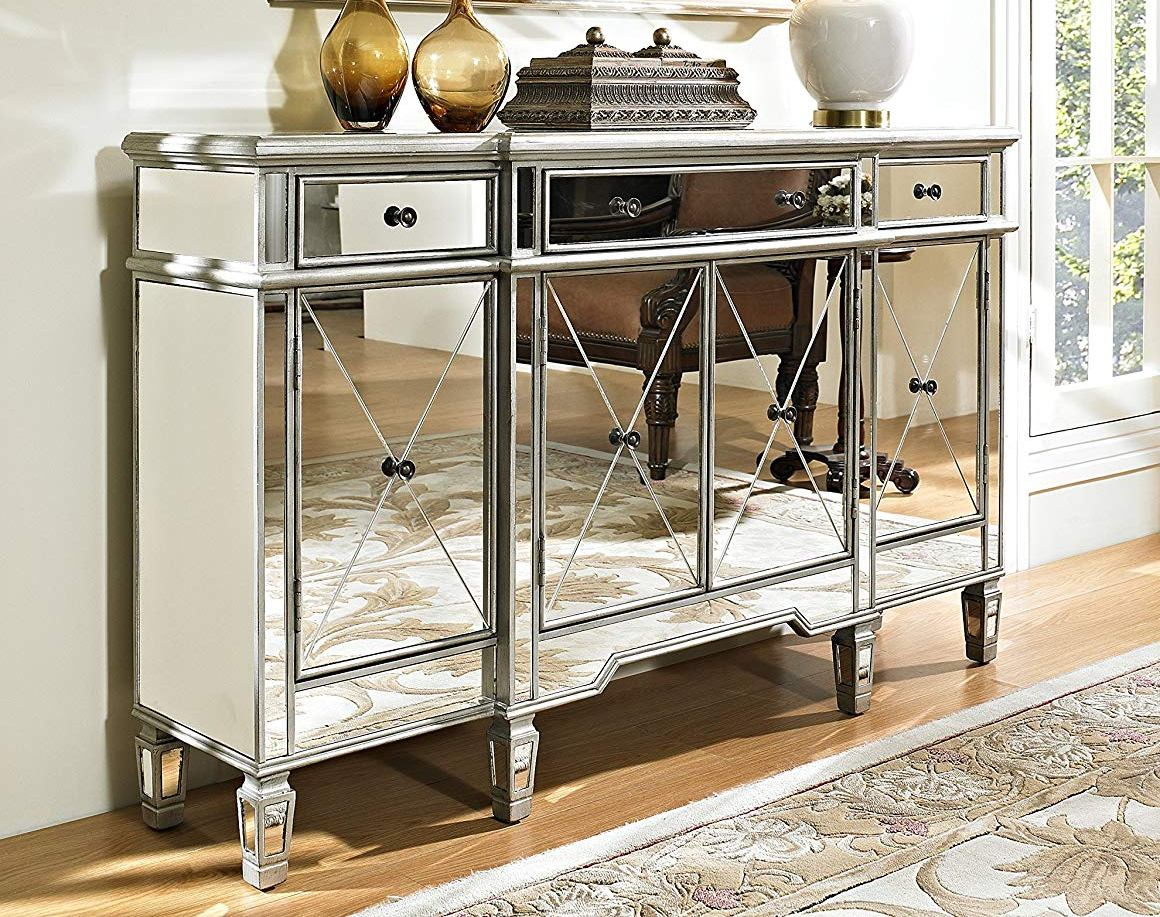 Powell Furniture 3 Drawers Mirrored Console for 3-Piece Mirrored Buffets (Image 22 of 30)
