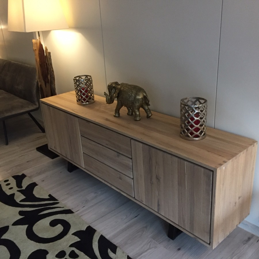 Quatropi Modern Low Sideboard Cabinet Buffet In White Oiled Oak C6 Within Solid Wood Contemporary Sideboards Buffets (View 16 of 30)
