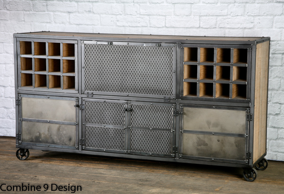 Reclaimed Wood Liquor Cabinet/ Bar - Rustic Industrial Bar Cart, Vintage  Industrial, Modern. Steel. Custom Configurations. Sideboard, Buffet throughout Saucedo Rustic White Buffets (Image 14 of 30)