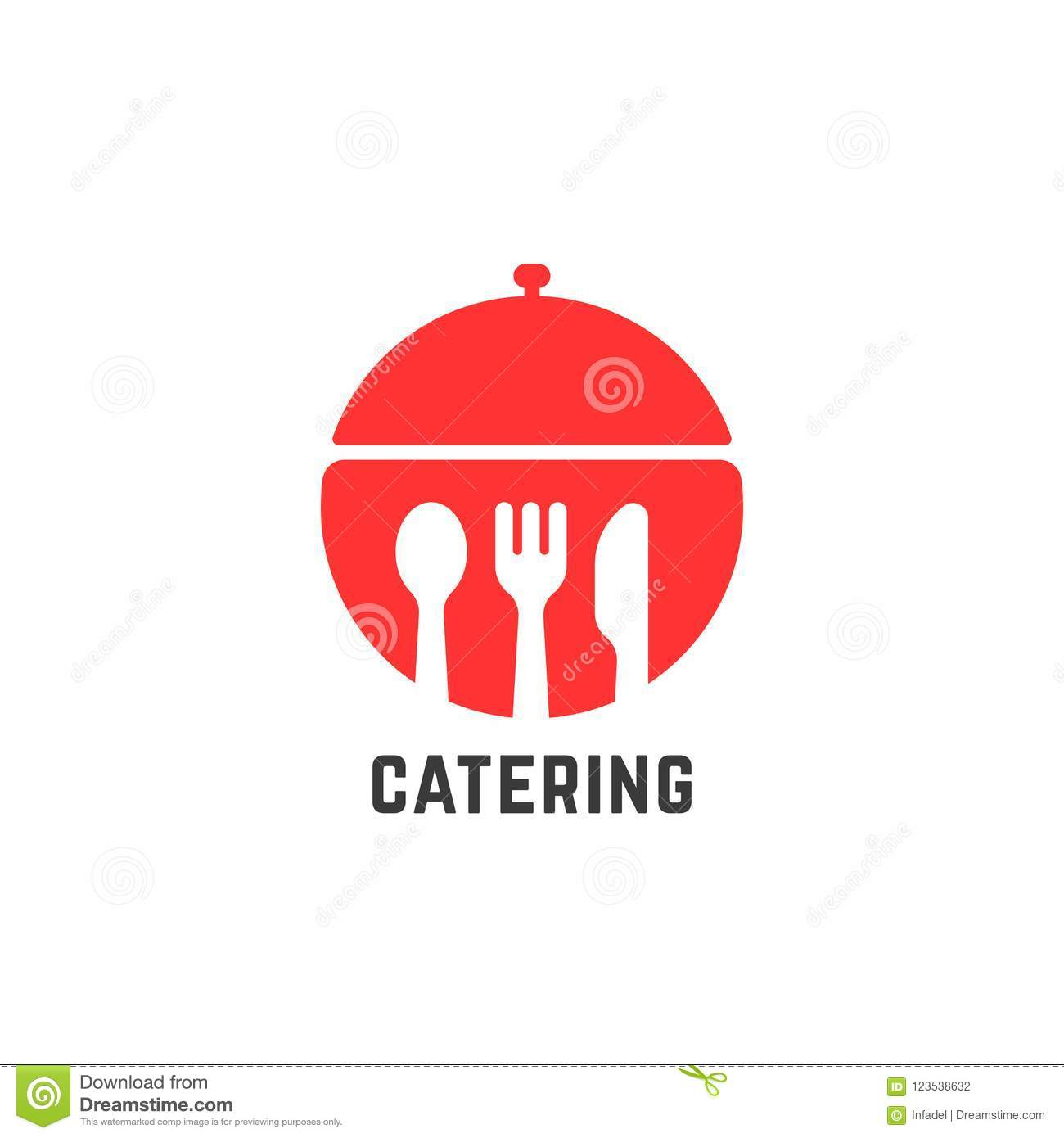 Red Catering Service Logo Isolated On White Stock Vector Intended For Modern Red Buffets (Gallery 9 of 30)