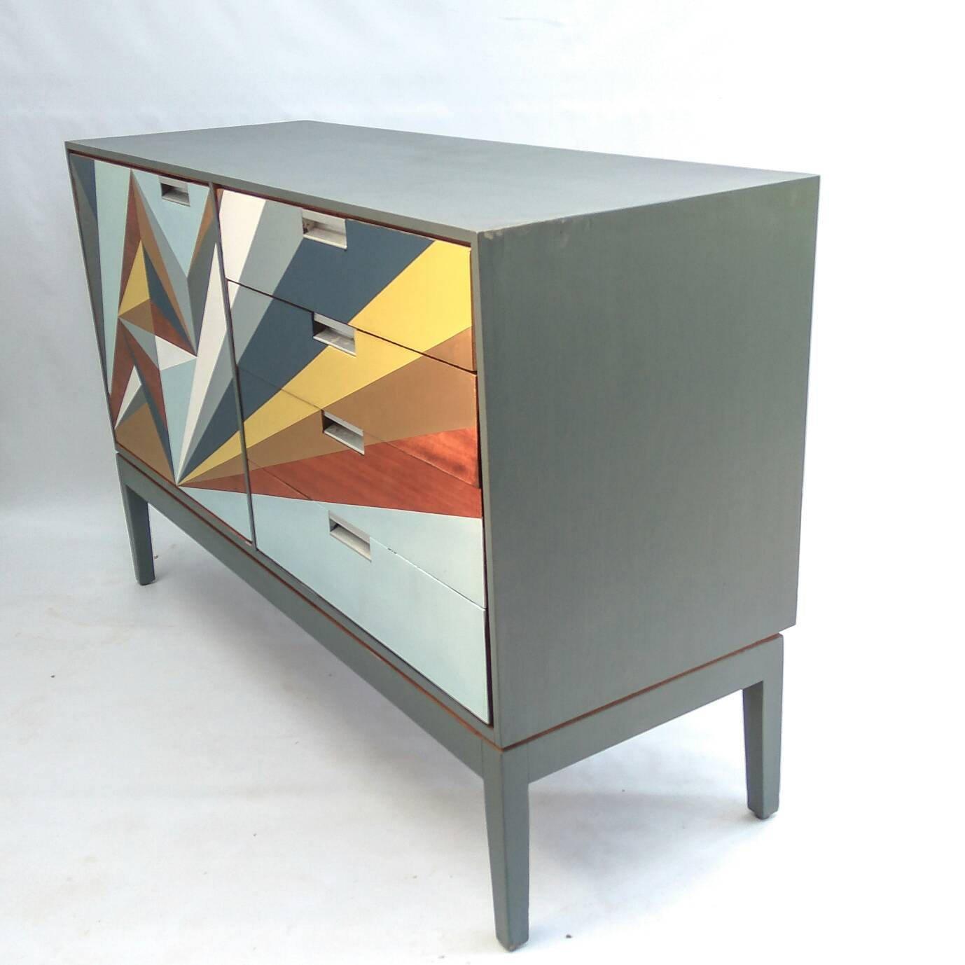 Retro Sideboard Geometric Handpainted Mid Centuryteak Buffet Pertaining To White Geometric Buffets (Gallery 13 of 30)