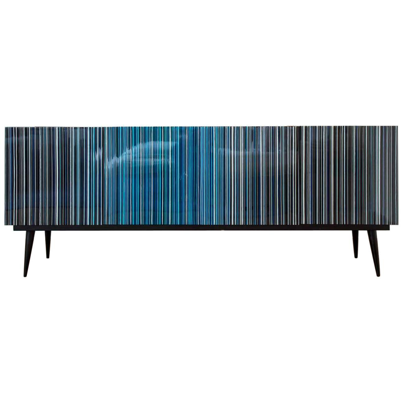 Retro Style Buffet Credenza, Barcode Design In Colored Glass, Black In  Turquoise Throughout Blue Stained Glass Credenzas (Gallery 3 of 30)