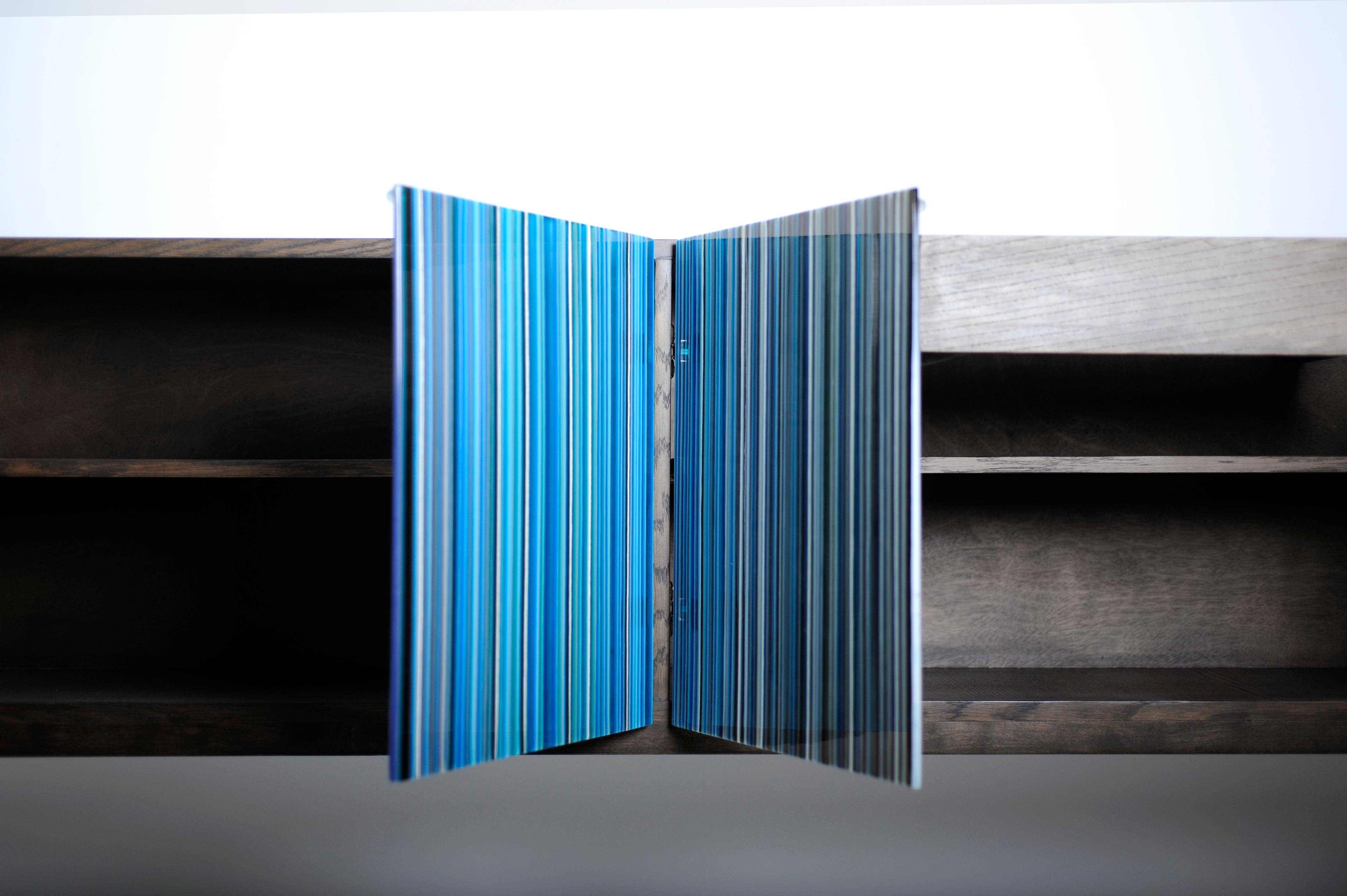 Retro Style Buffet Credenza, Barcode Design In Colored Glass, Shades Of Blue In Blue Stained Glass Credenzas (Gallery 6 of 30)