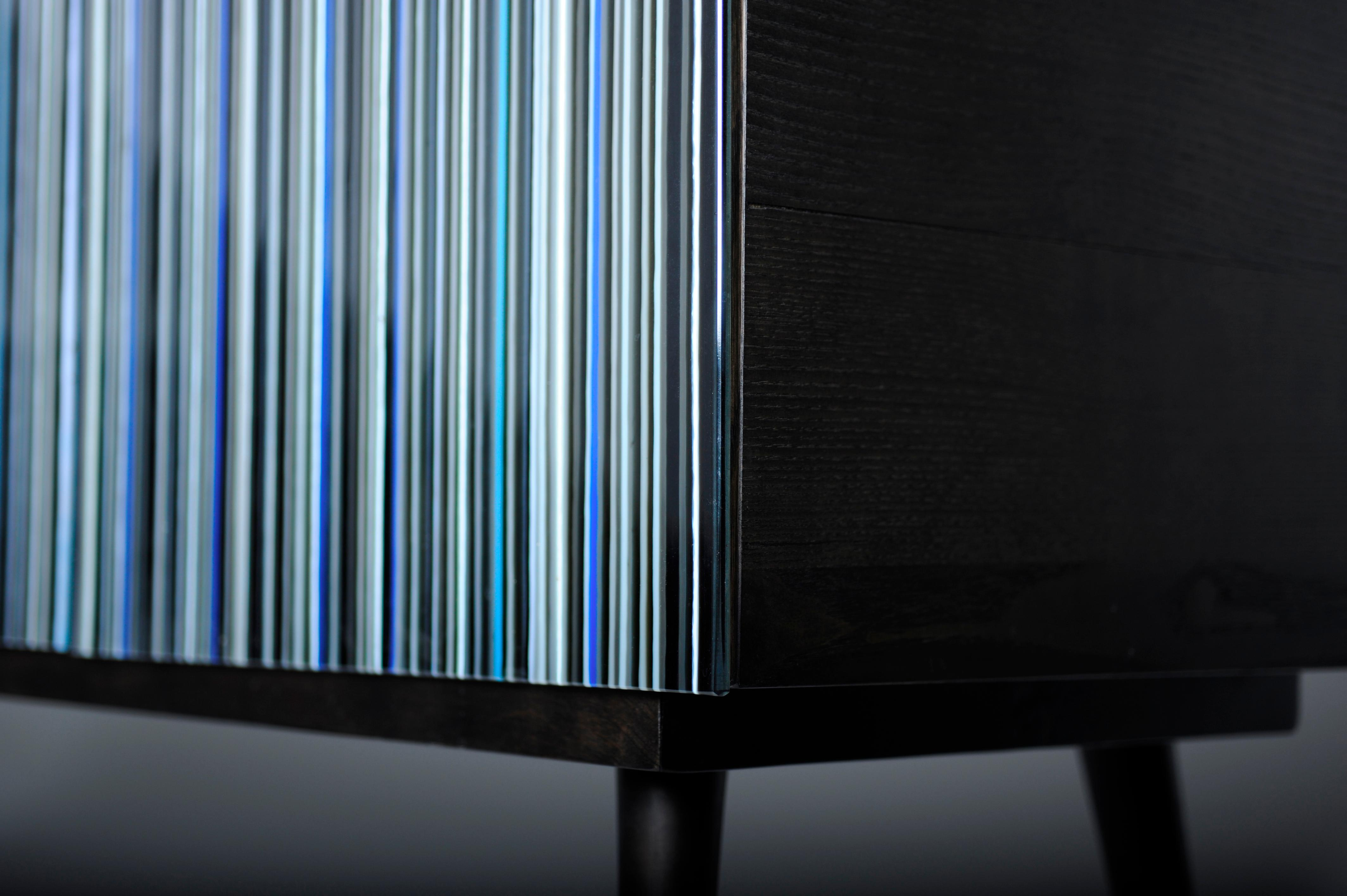Retro Style Buffet Credenza, Barcode Design In Colored Glass, Shades Of Blue Inside Blue Stained Glass Credenzas (Photo 8 of 30)